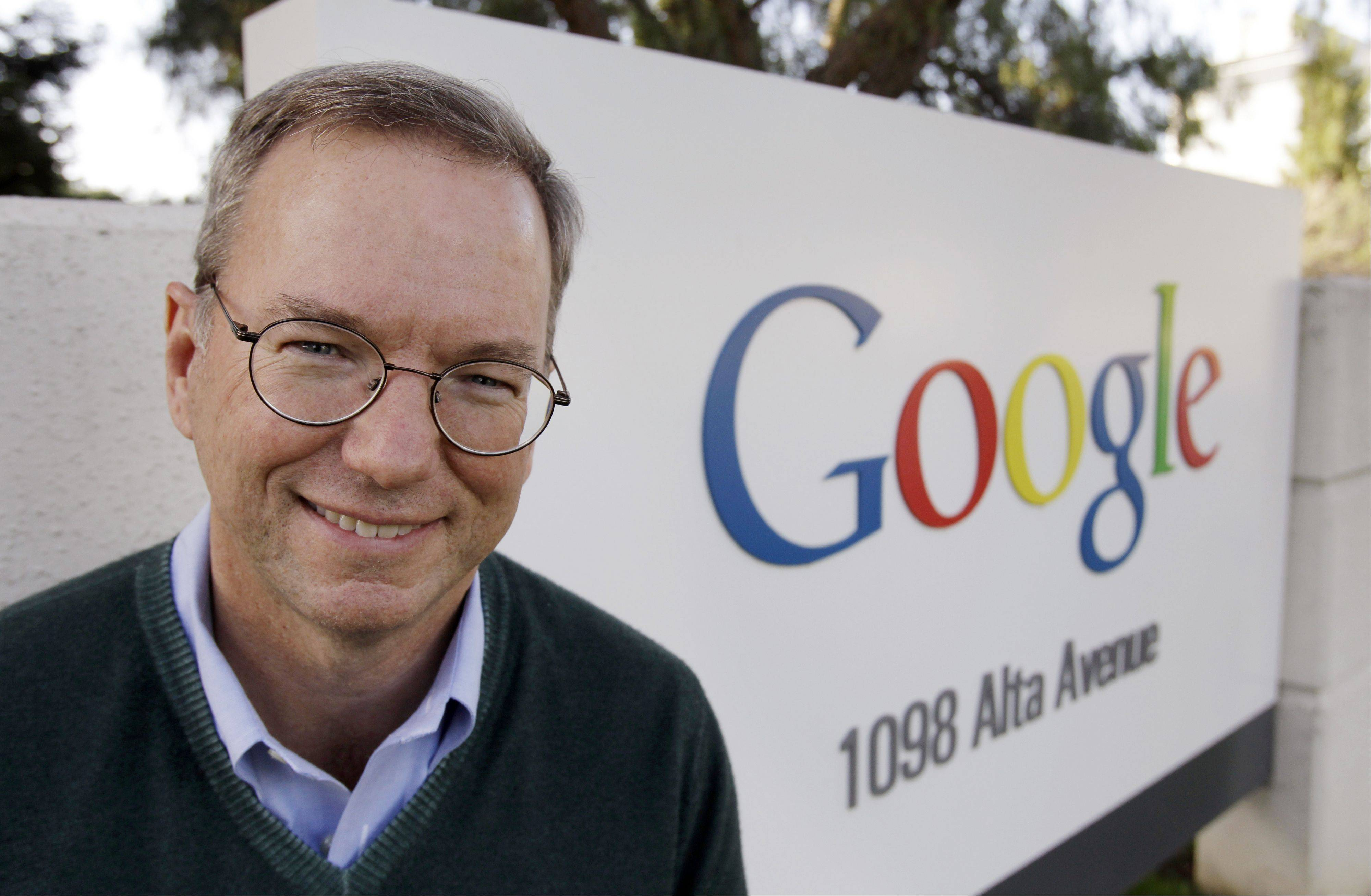 Google CEO Eric Schmidt outside of Google headquarters in Mountain View, Calif.