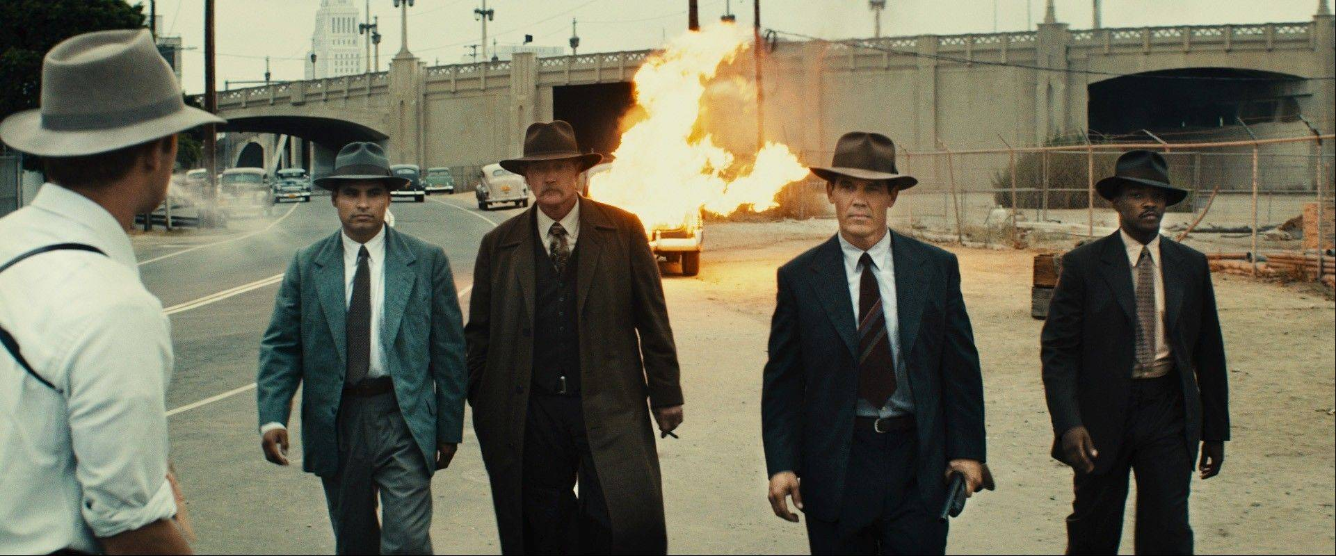 "An elite and diversified group of secret L.A. police officers (from left, Michael Pena, Josh Brolin, Robert Patrick and Anthony Mackie) clean up the streets in the period crime thriller ""Gangster Squad."""