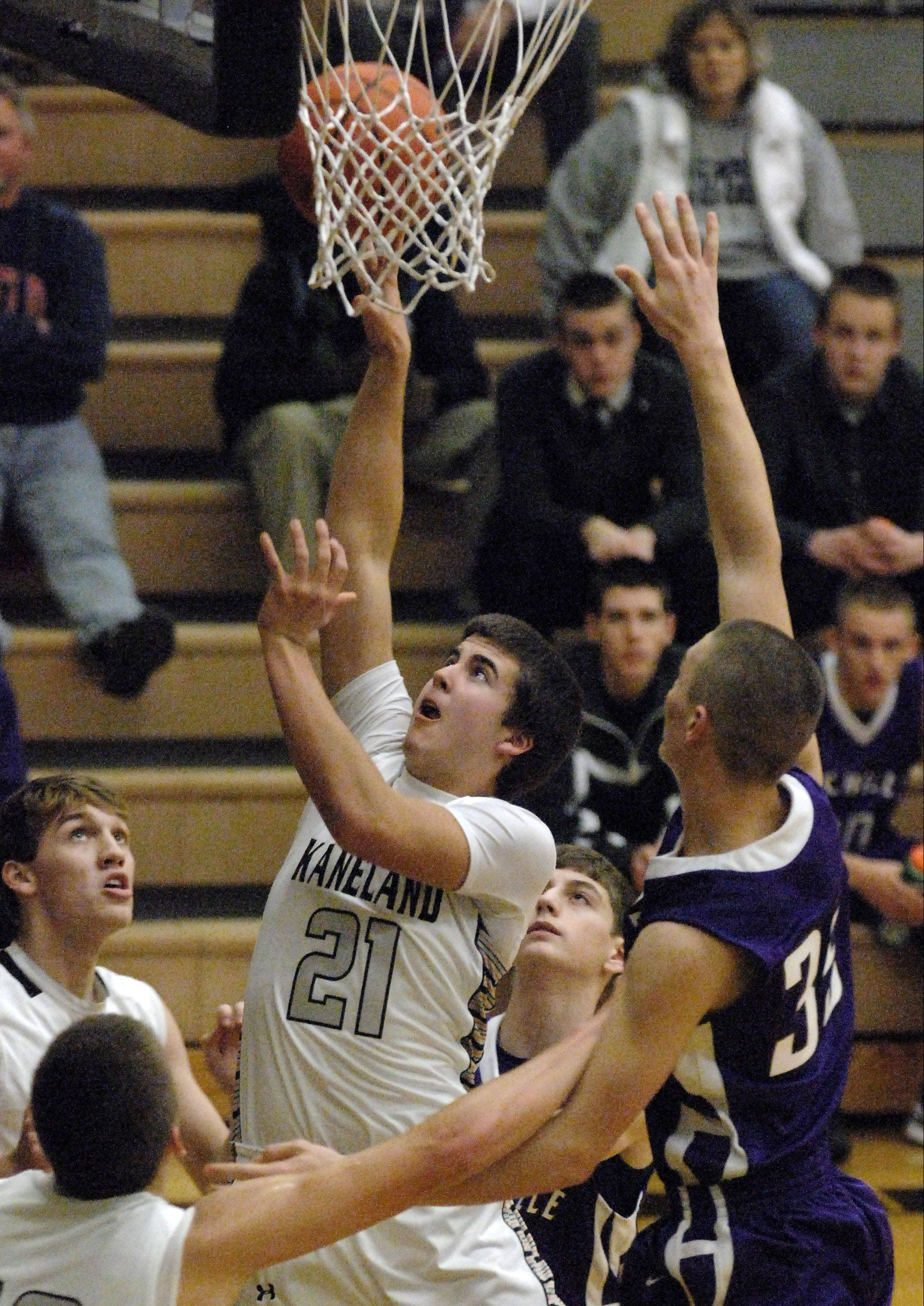 Kaneland�s Tom Van Bogaert puts up a shot in the lane against Rochelle during Thursday�s game in Maple Park.