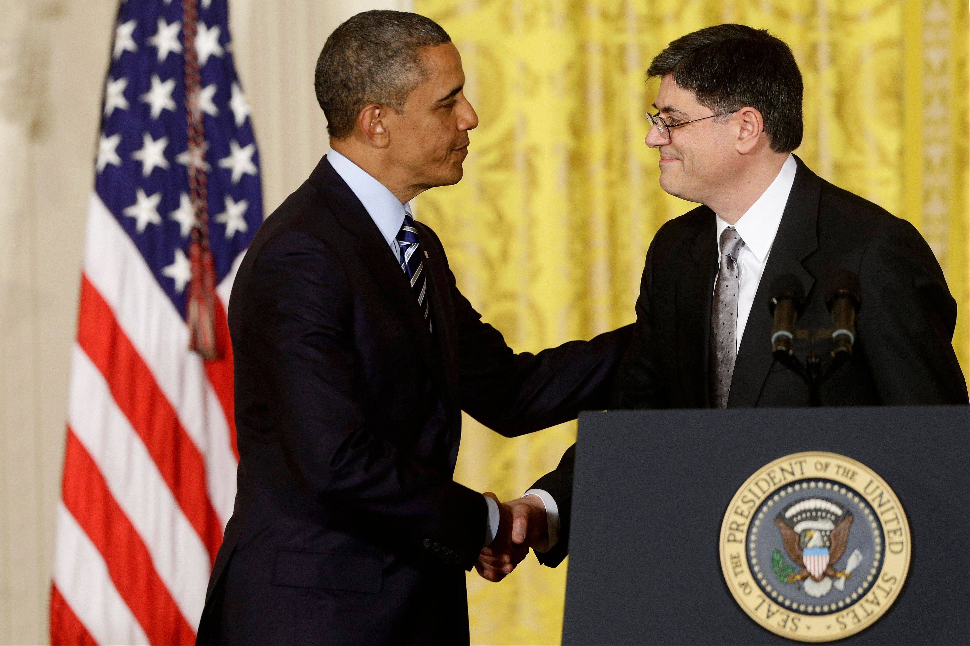 President Barack Obama shakes hands with current White House Chief of Staff Jack Lew in the East Room of the White House Thursday, after announcing he will nominate Lew as the next Treasury secretary.