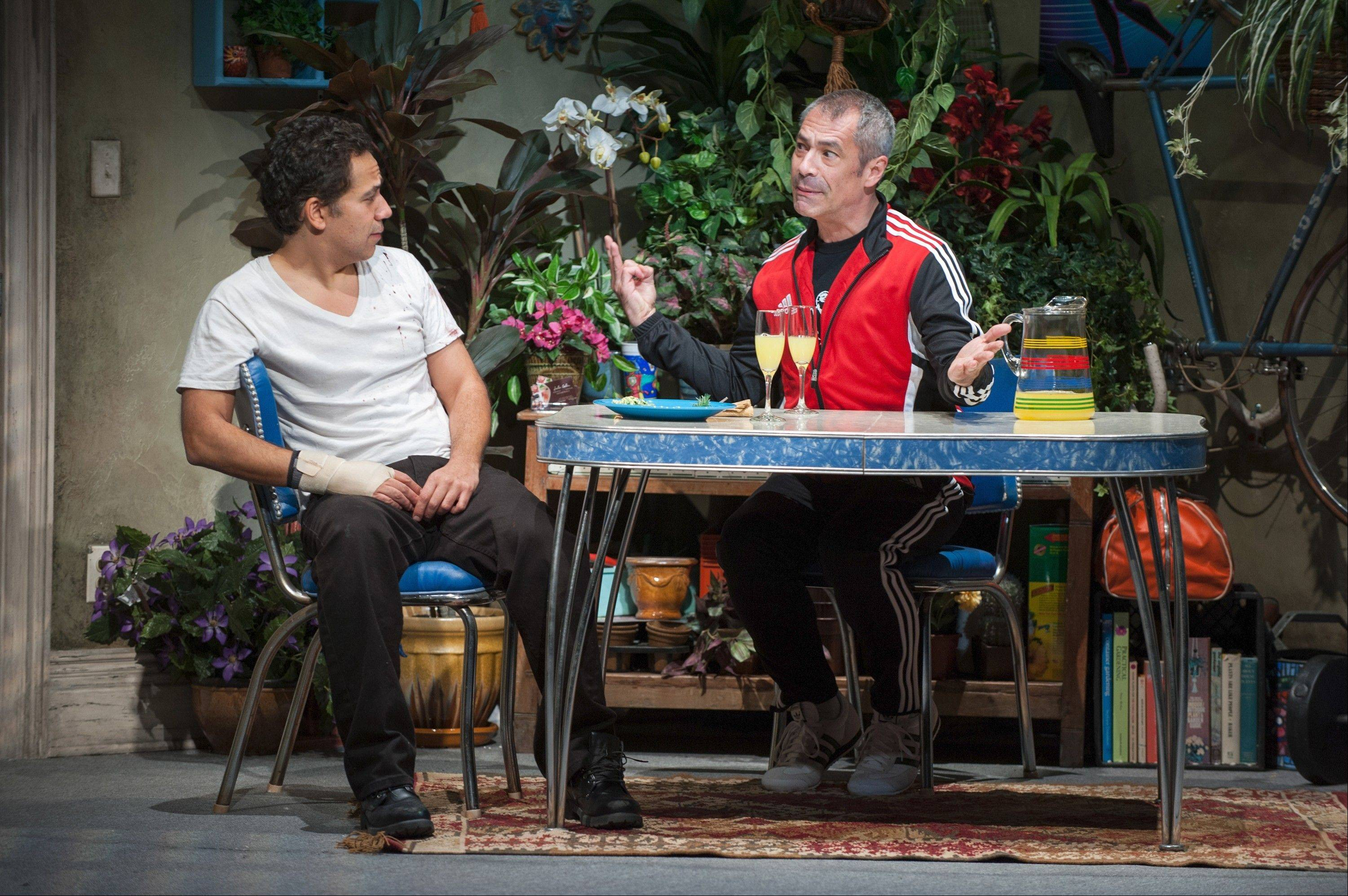 "Gary Perez, right, nearly steals the show as the unfailingly decent Julio, cousin to the recovering addict Jackie (John Ortiz) in director Anna D. Shapiro's production of Stephen Adly Guirgis' ""The (expletive) with the Hat"" at Steppenwolf Theatre."