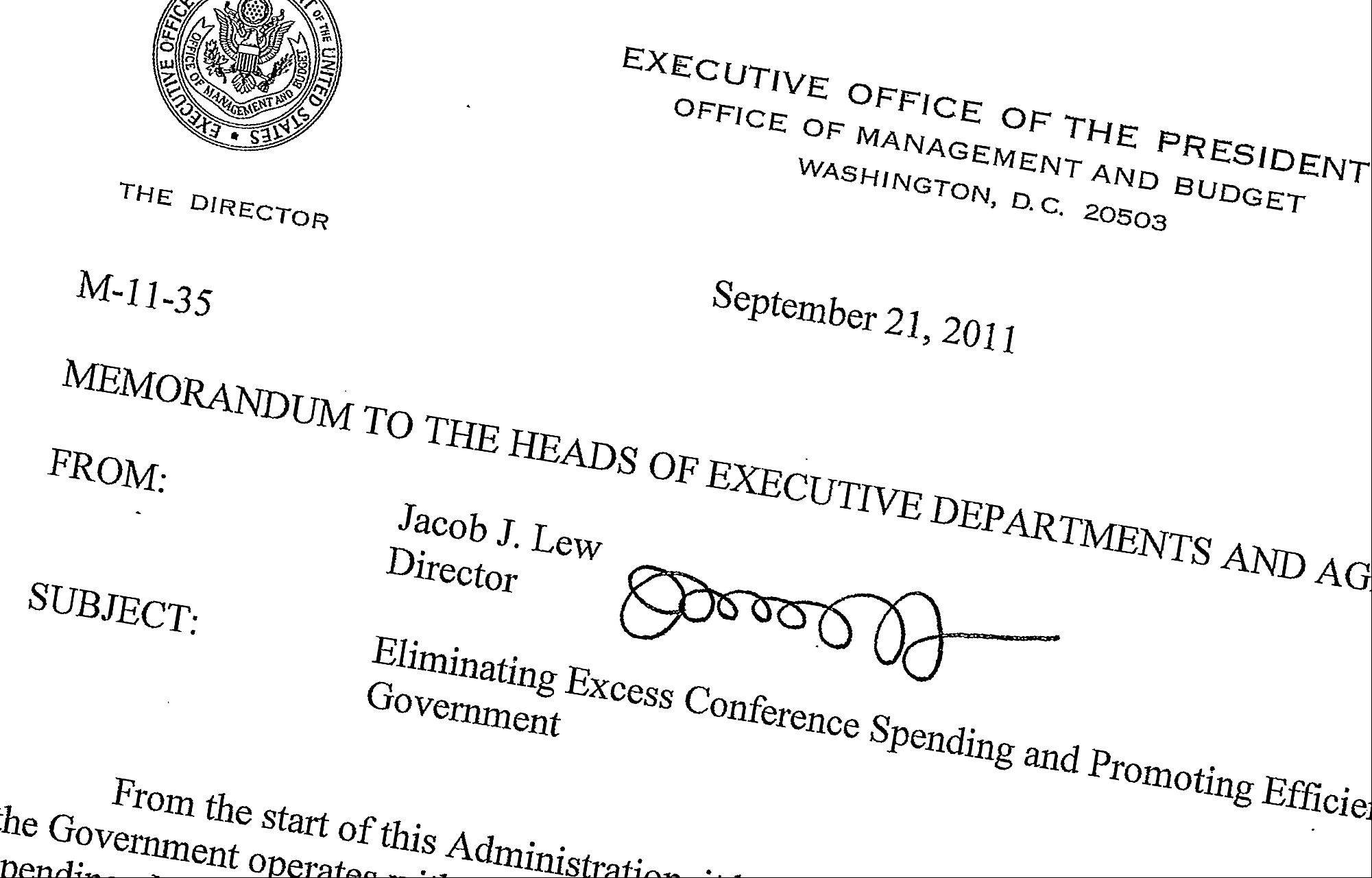 This Sept. 21, 2011, memo posted on the White House website shows then-Office of Management and Budget director Jack Lew's signature. Lewís nomination for Treasury secretary means a new signature could soon be coming to the dollar bill. Not that you'll be able to read it.