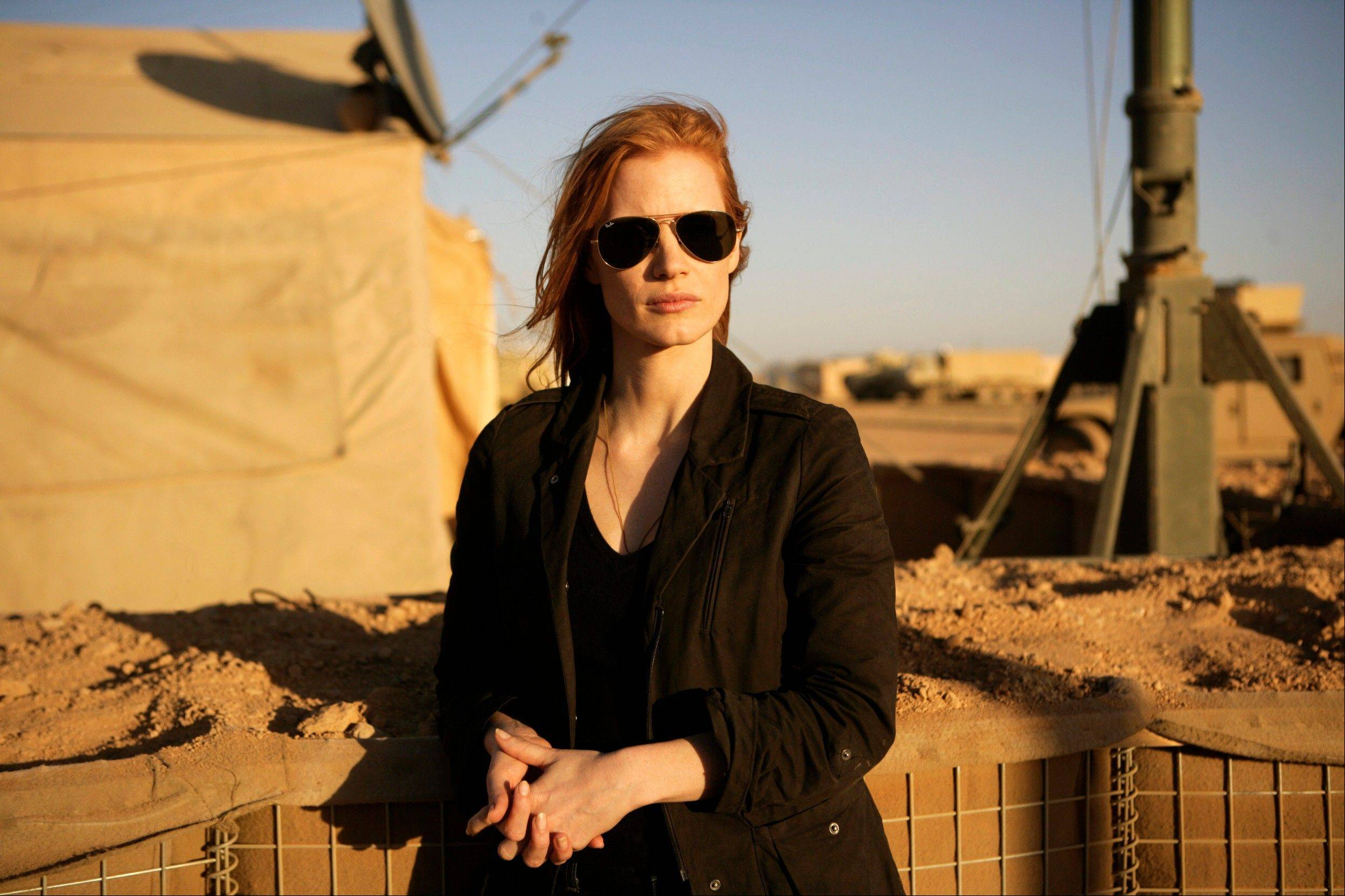 "This undated publicity film image provided by Columbia Pictures Industries, Inc. shows Jessica Chastain in""Zero Dark Thirty."" Chastain was nominated for an Academy Award for best actress on Thursday, Jan. 10, 2013, for her role in the film."