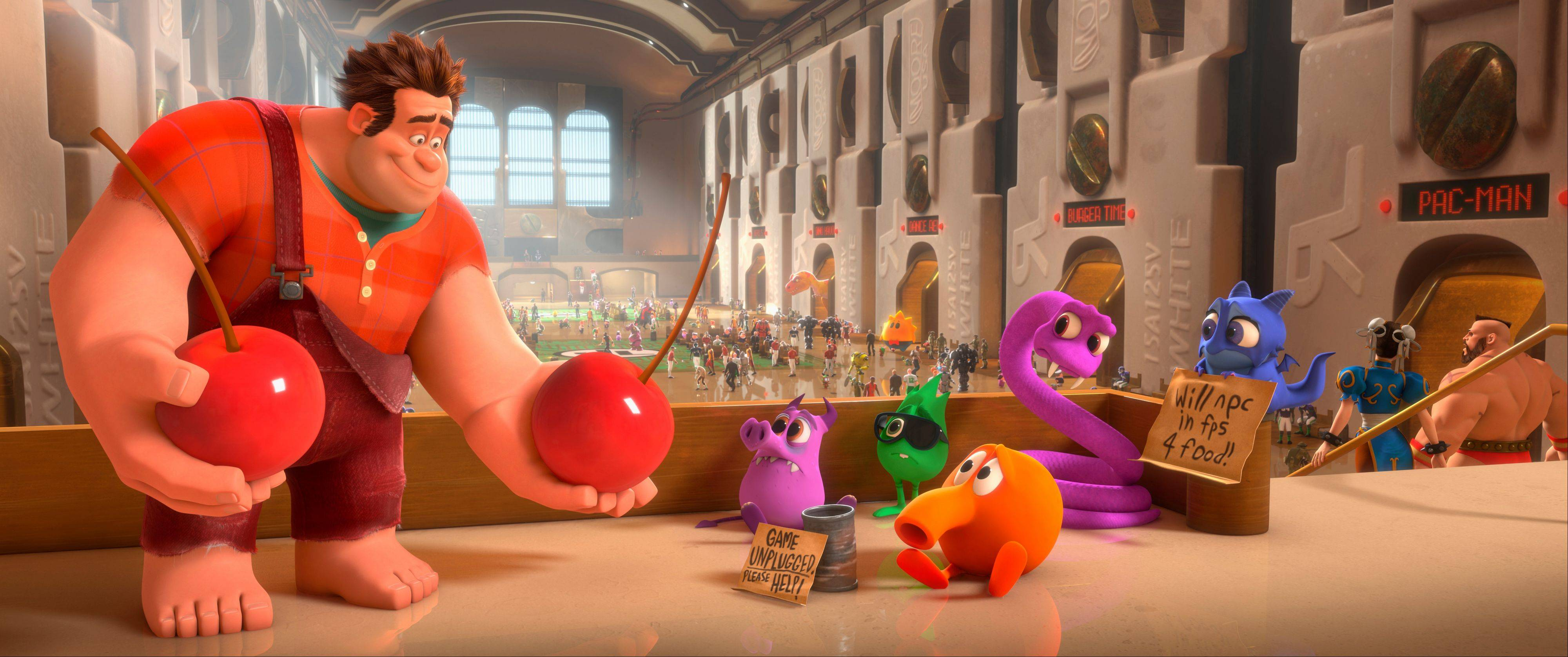 "This film image released by Disney shows Ralph, left, voiced by John C. Reilly in a scene from ""Wreck-It Ralph."" The film was nominated for an Academy Award for best animated picture on Thursday, Jan. 10, 2013."