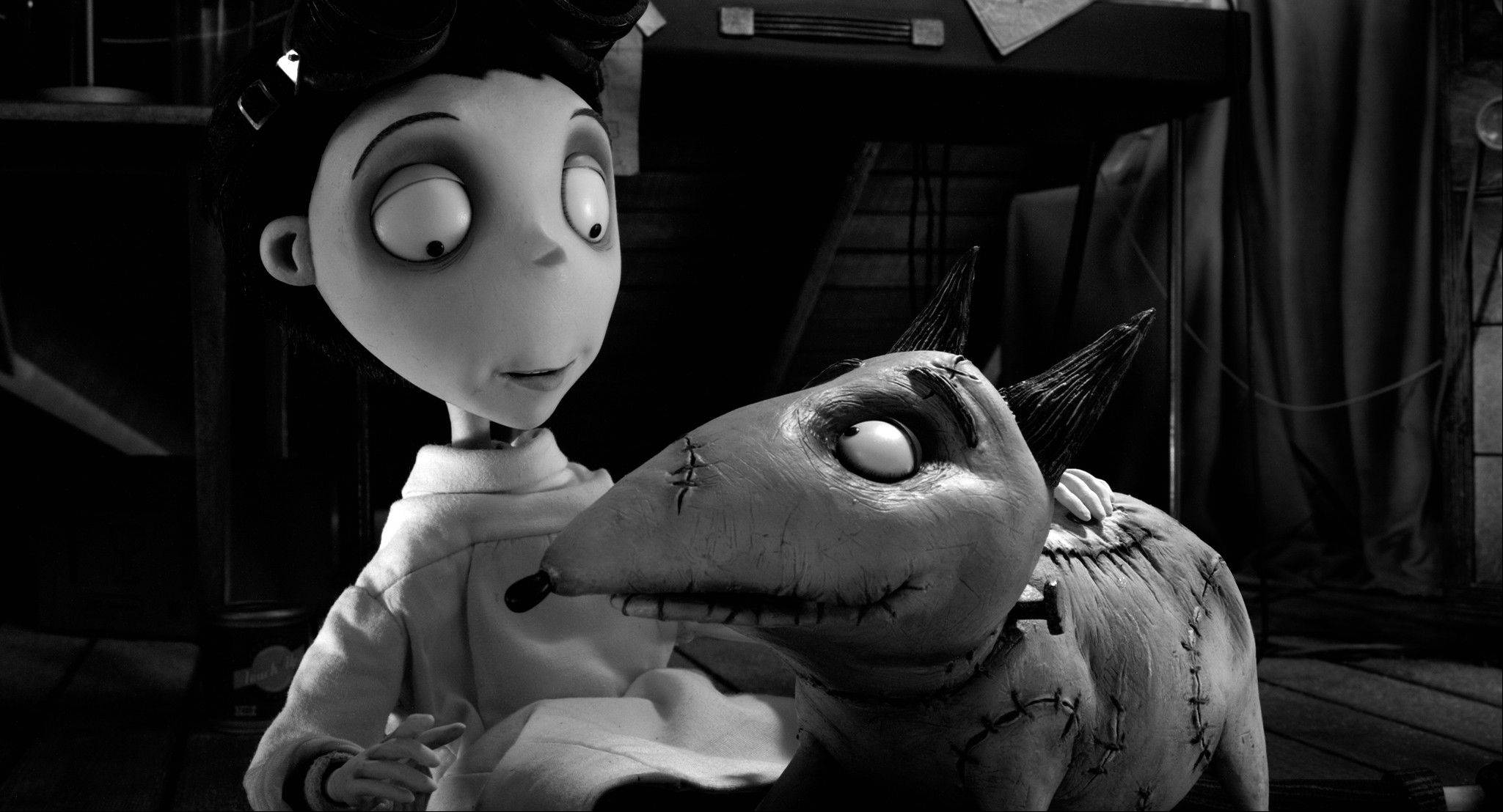"This film image released by Disney shows Victor Frankenstein, voiced by Charlie Tahan, with Sparky, in a scene from ""Frankenweenie."" The film was nominated for an Academy Award for best animated picture on Thursday, Jan. 10, 2013."