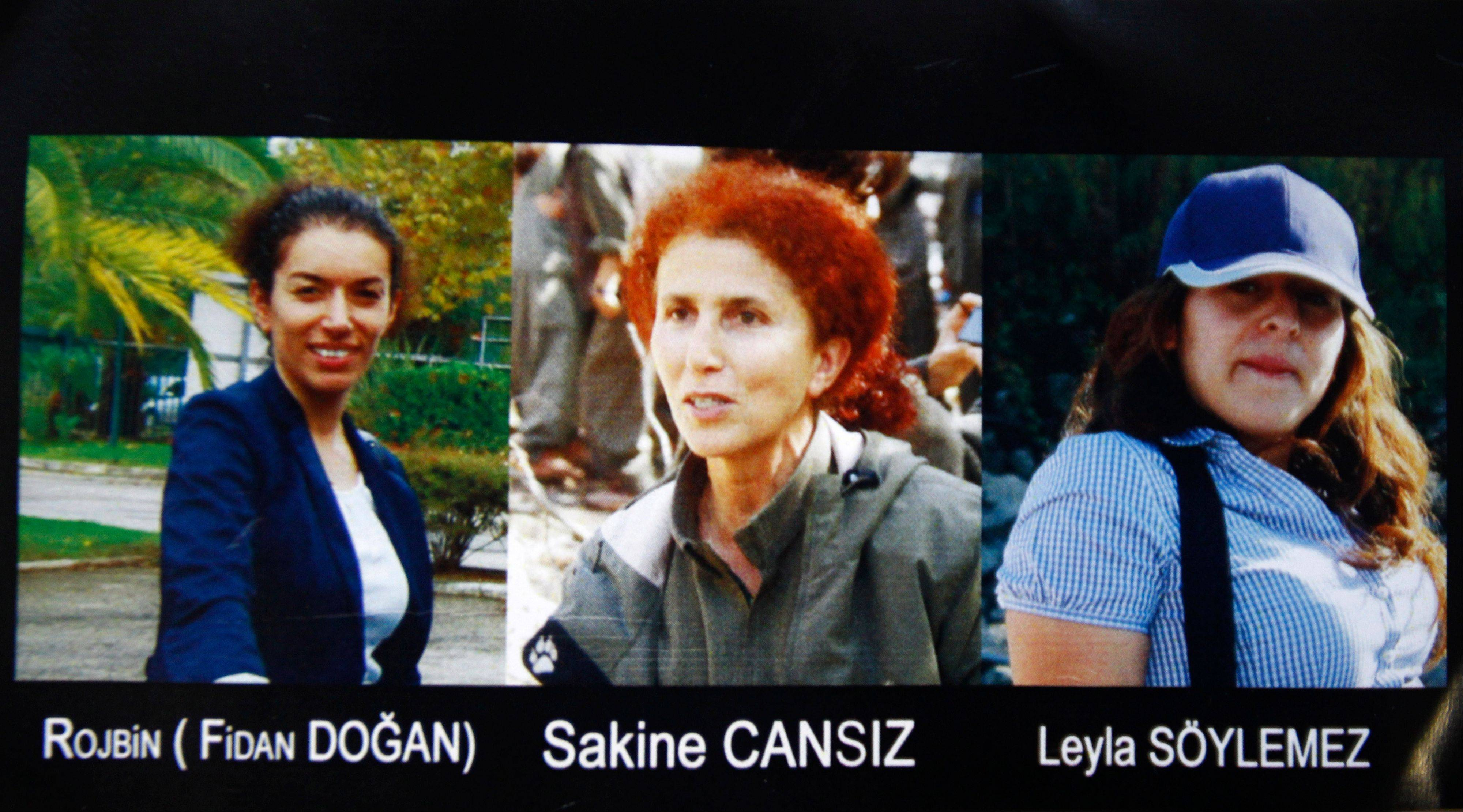"This combination photo provided by the Kurdish Cultural center in Paris shows the three victims ""executed"" in Paris. Fidan Dogan, left, Sakine Cansiz, center, and Leyla Soylemez. Cansiz was a founding member of the Kurdistan Workers Party, or PKK."