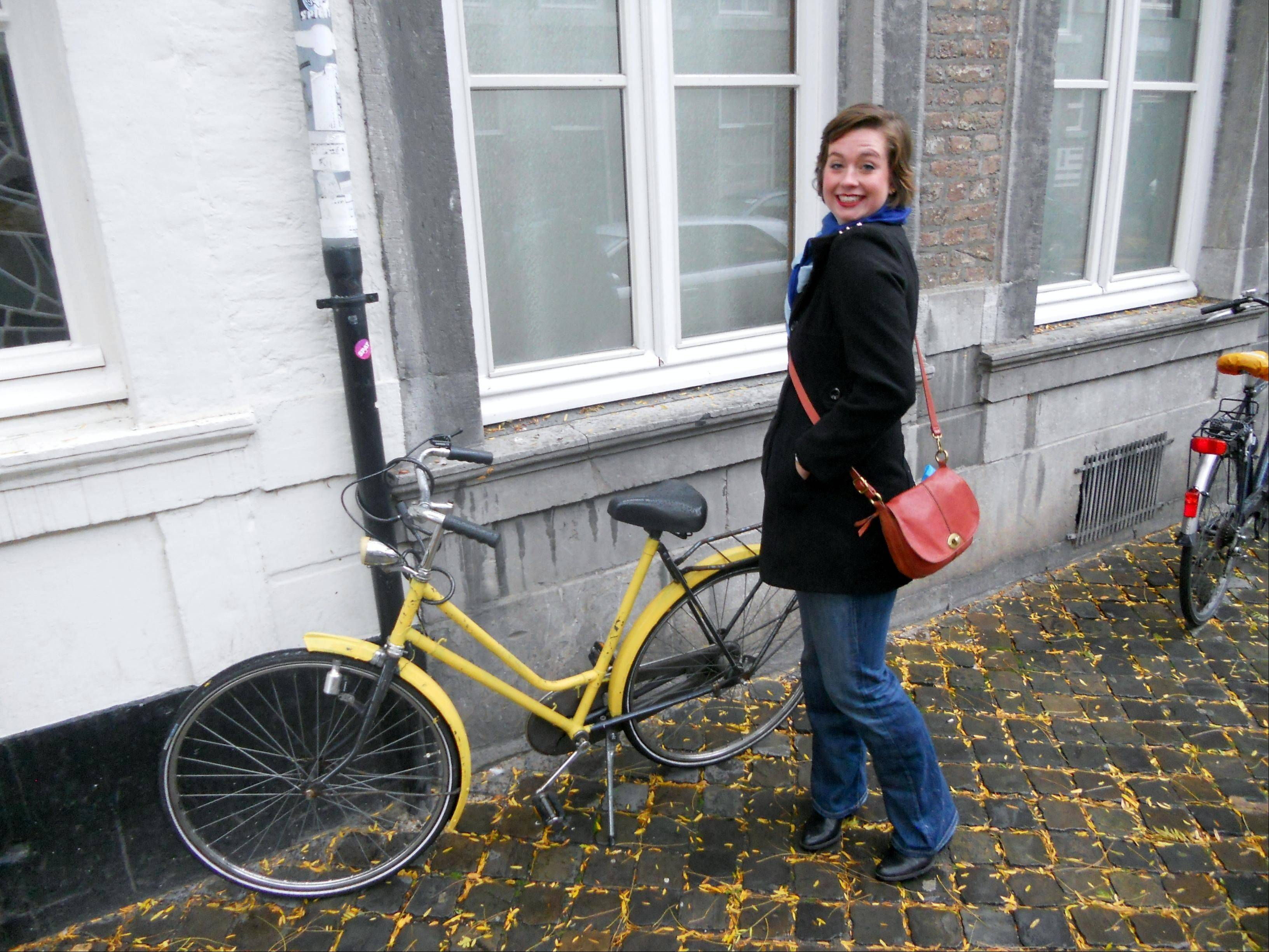 Rachel Cliburn's Dutch mode of transportation in Maastricht, Netherlands, is this secondhand bike she painted yellow. She's also joined a rowing club as part of her effort to immerse herself in Dutch culture.