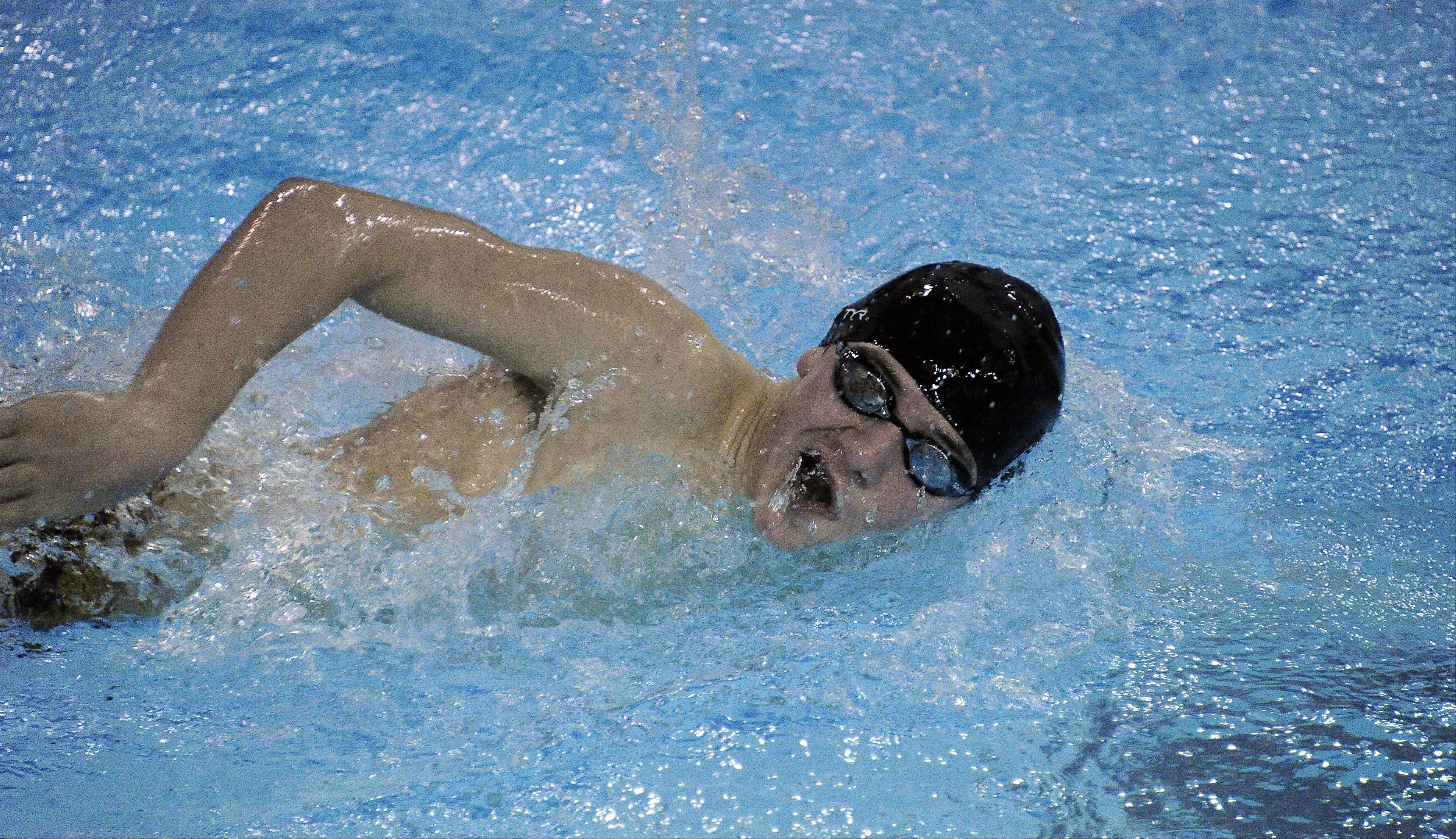 St. Viator's Charlie Wood powers ahead in the varsity 200-yard freestyle, winning in 1.58.57 against Notre Dame at St. Viator on Thursday.