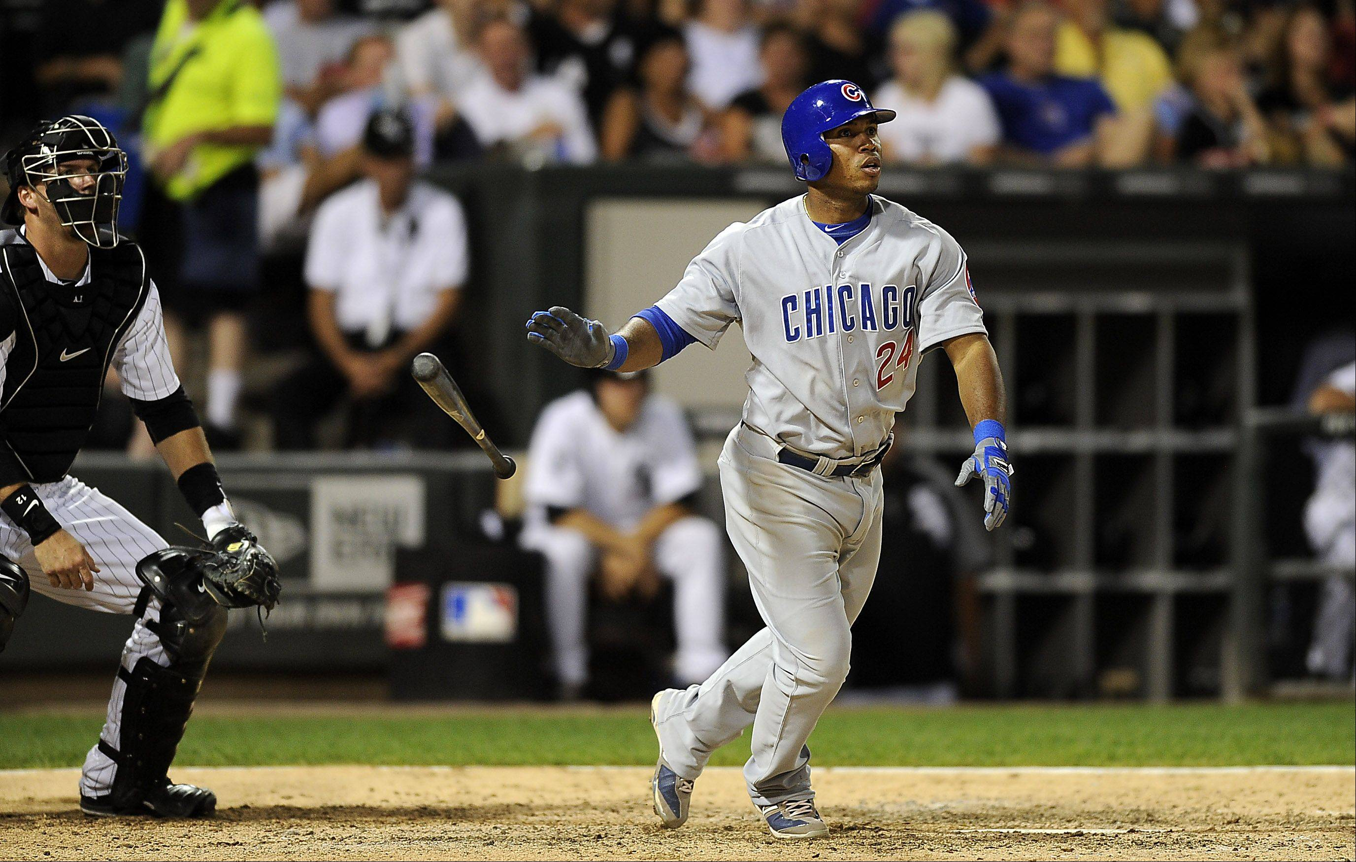 Mark Welsh/mwelsh@dailyherald.com ¬ Chicago Cubs Luis Valbuena hits a seventh inning homerun to right field driving in multiple rbi runs at the crosstown classic, White Sox vs the Chicago Cubs on Monday.