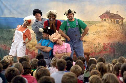 Cast of American Eagle Productions performing Charlotte's Web.
