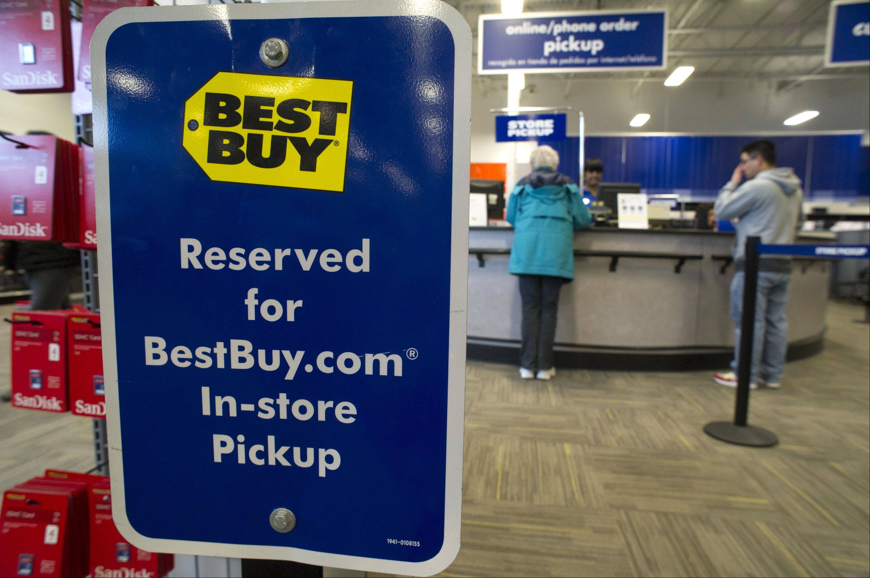 Shares of Best Buy Co. jumped on Friday after the electronics chain showed signs of starting to reverse declining sales during the critical holiday selling season, a better-than-expected result.