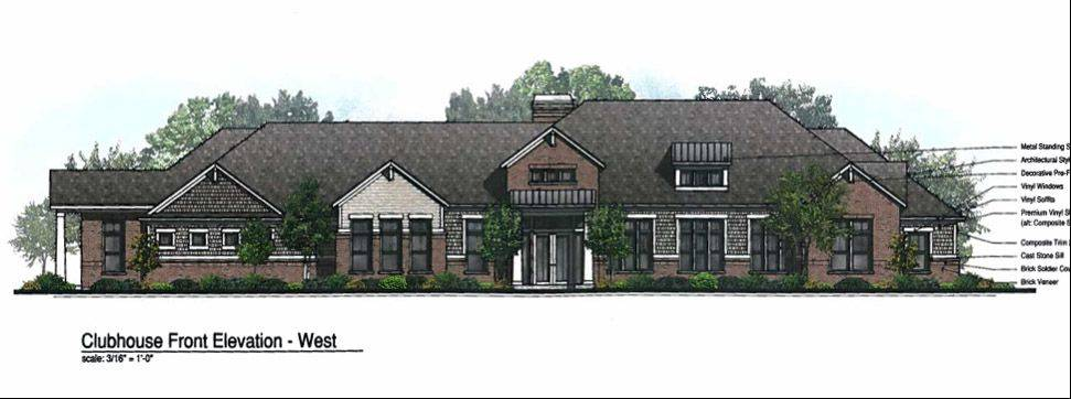 Clubhouse rendering for the proposed Oaks of Vernon Hills luxury rental community.