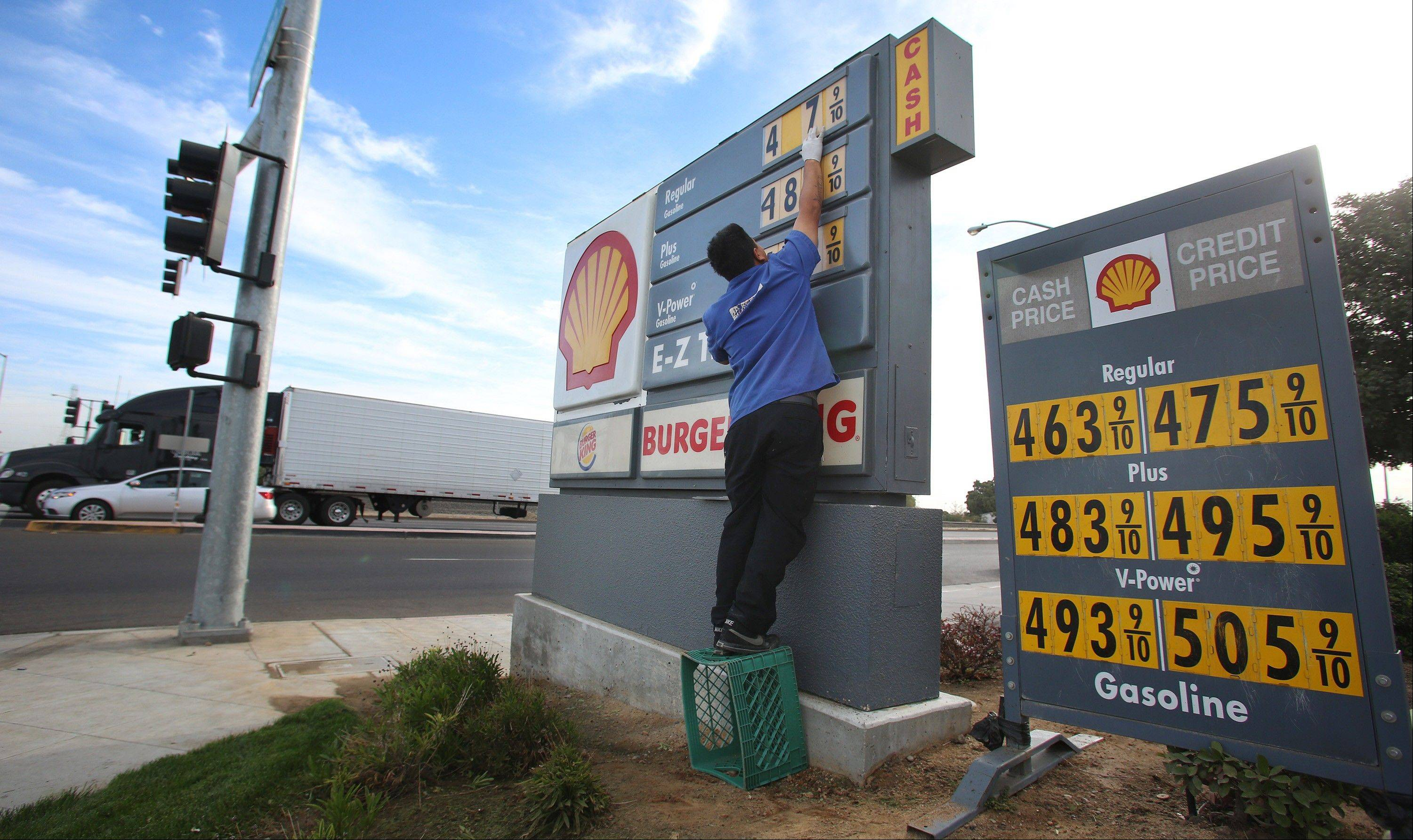 Luis Cuevas changes the gas prices at the Shell station off California State Route 99. Forecasters say that ample oil supplies and weak U.S. gasoline demand will keep a lid on prices in 2013.