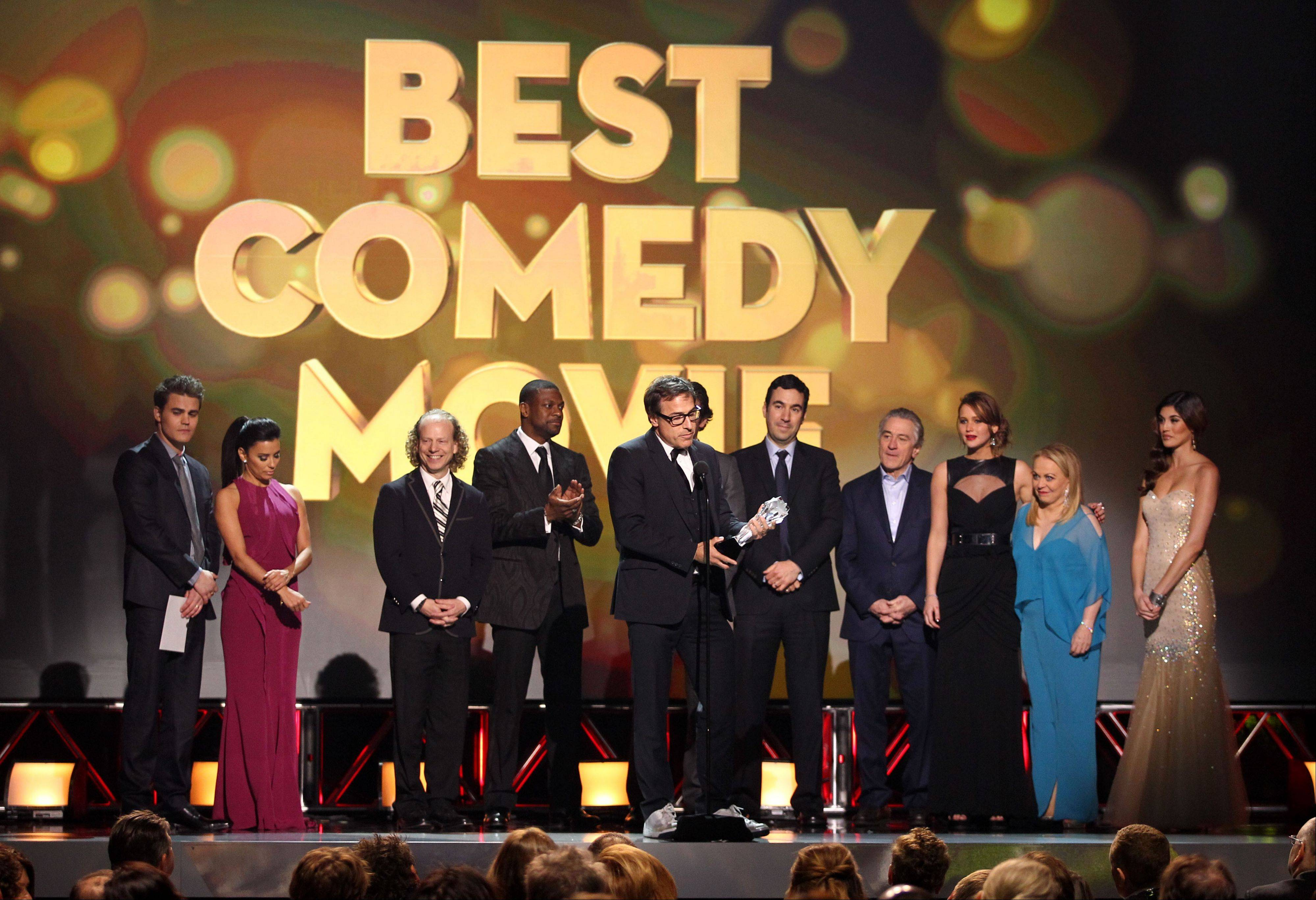 "David O. Russell and cast accepts the award for best comedy movie for ""Silver Linings Playbook"" at the 18th Annual Critics' Choice Movie Awards."