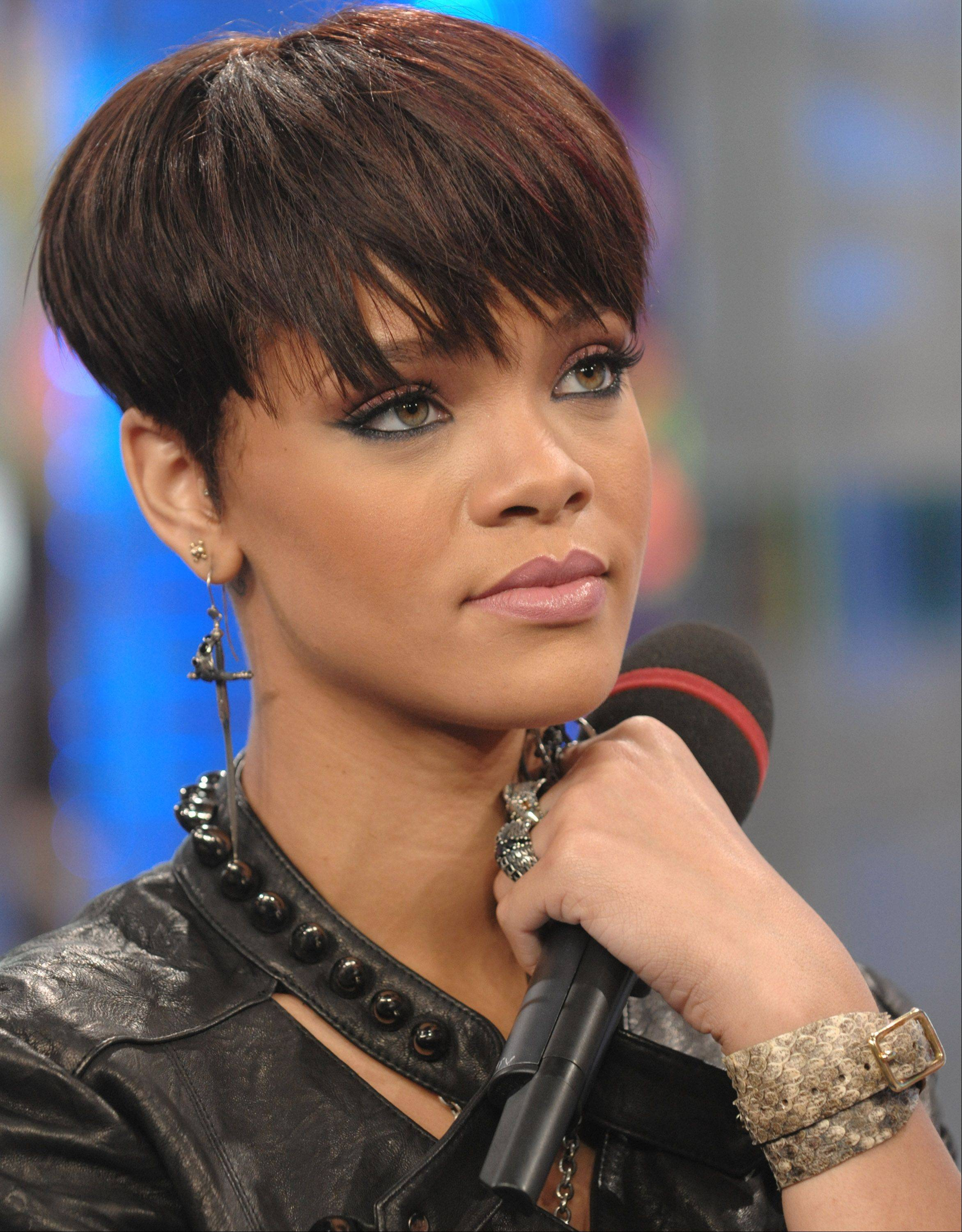 Singer Rihanna makes an appearance on MTV's Total Request Live in New York in 2008.