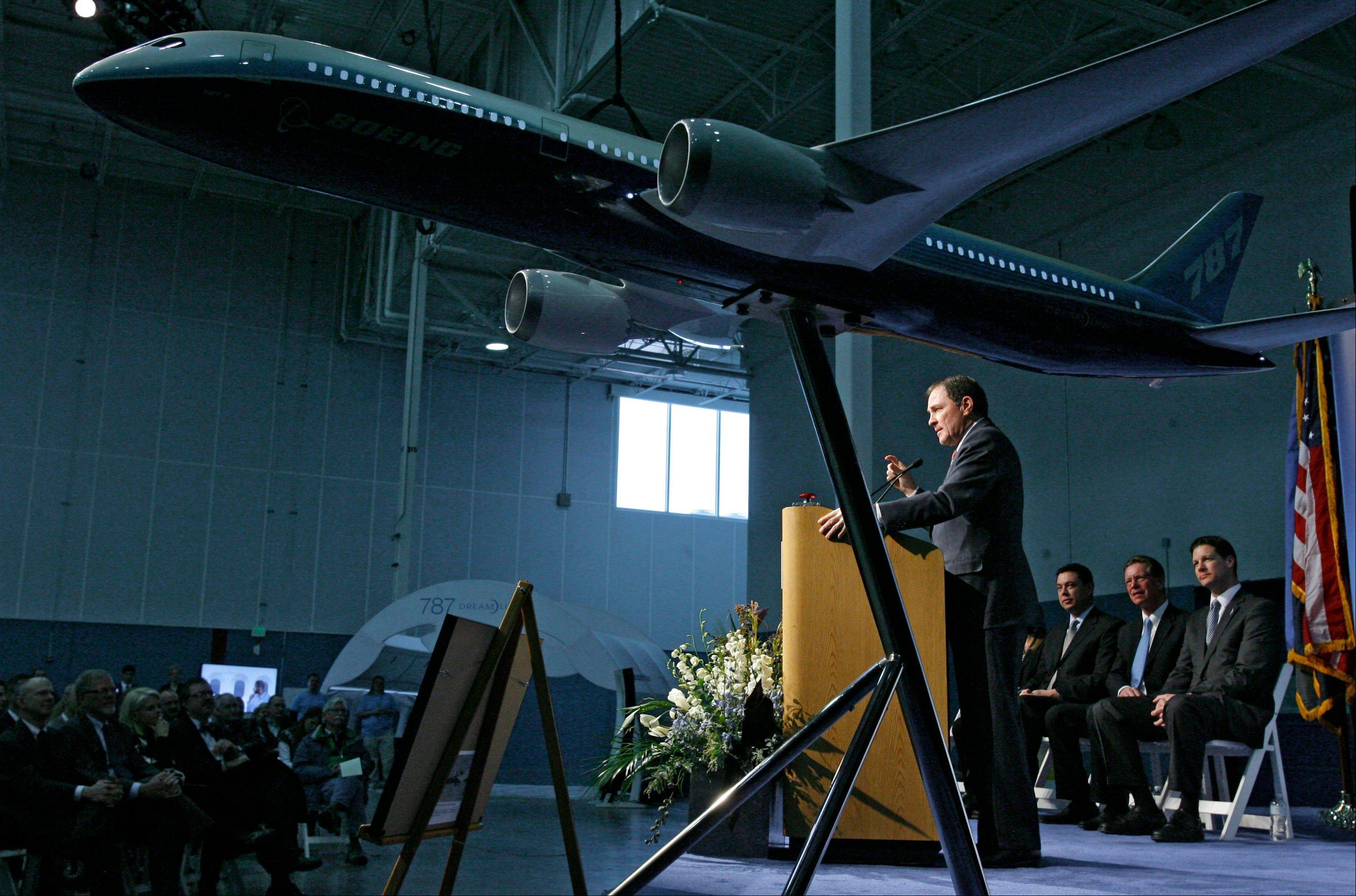 Gov. Gary Herbert speaks Friday as Boeing celebrates the opening of a new manufacturing plant in West Jordan, Utah.