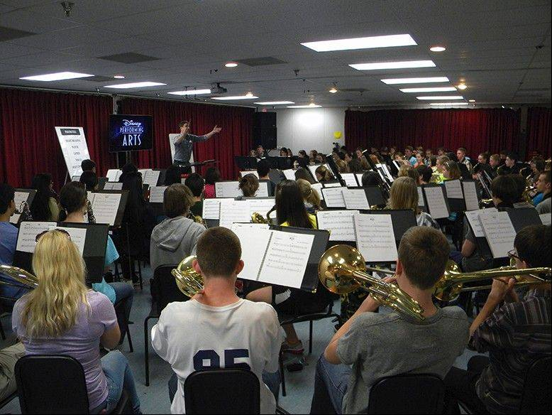 "Members of the Fremd ""Florida Band"" participate in the Disney World ""You're Instrumental"" recording studio workshop on Dec. 28."