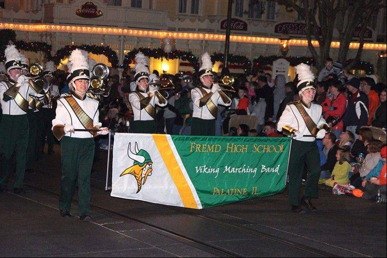 "Aileen Jong and Katie Klonder lead the Fremd Viking Marching Band in the Disney World ""Electric Light Parade"" on Dec. 27."