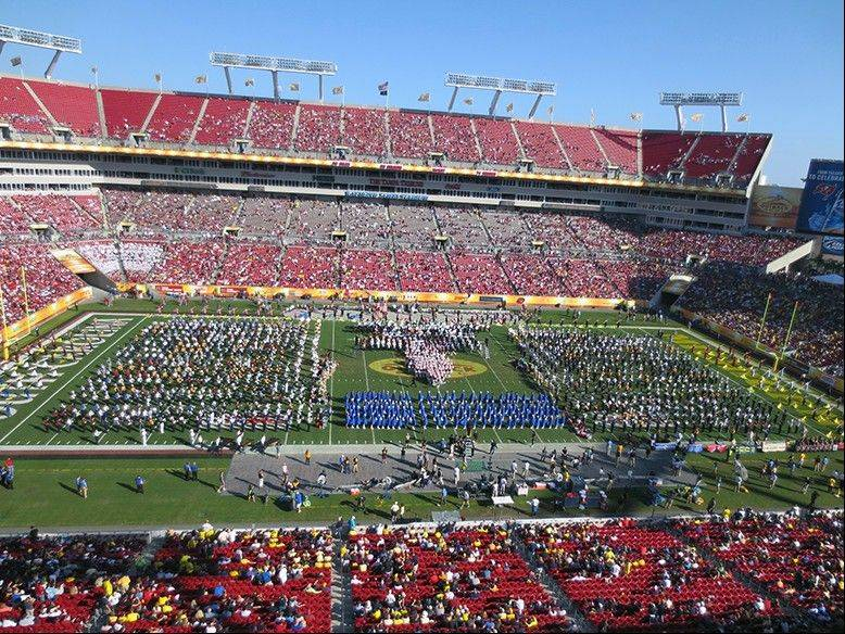 Fremd band students performed with 15 other high school bands in the Outback Bowl halftime Show.