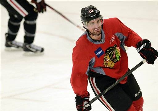 Patrick Sharp skates during an informal NHL hockey workout at Johnny's Icehouse, Thursday. Mike Spellman says This season's shortened 48-game NHL schedule should provide fireworks.