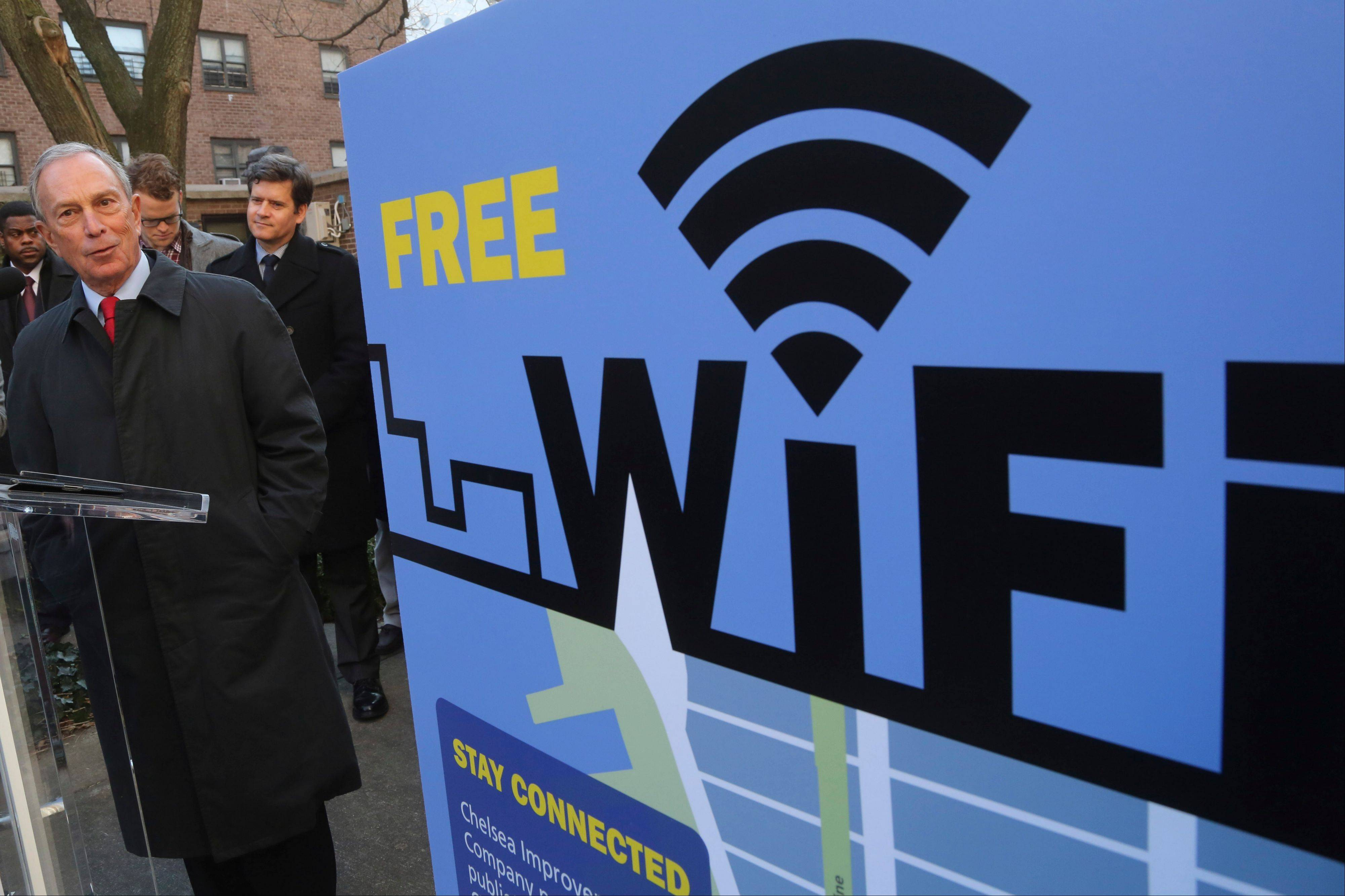 New York City Mayor Michael Bloomberg speaks Tuesday during a news conference in New York. Google and The Chelsea Improvement Company say they�ll provide free public Wi-Fi in Manhattan�s southwest Chelsea neighborhood.