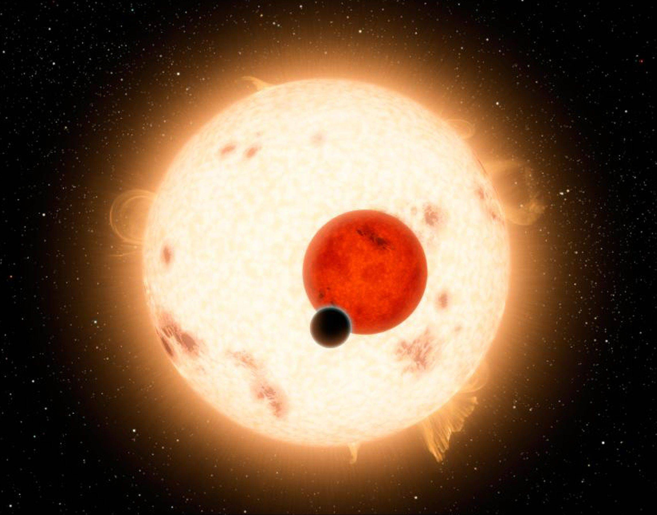 An artist�s depiction shows a discovery by NASA�s Kepler mission of a world where two suns set over the horizon instead of just one. The planet, called Kepler-16b, is the most �Tatooine-like� planet yet found in our galaxy and is depicted here with its two stars. Tatooine is the name of Luke Skywalker�s home world in the science fiction movie Star Wars.