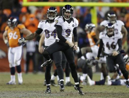 Baltimore's Justin Tucker kicked a 47-yard field goal 1:42 into the second overtime Saturday, ending the NFL's longest game in 26 years and giving the Ravens a 38-35 win over the Denver Broncos in the AFC playoffs.