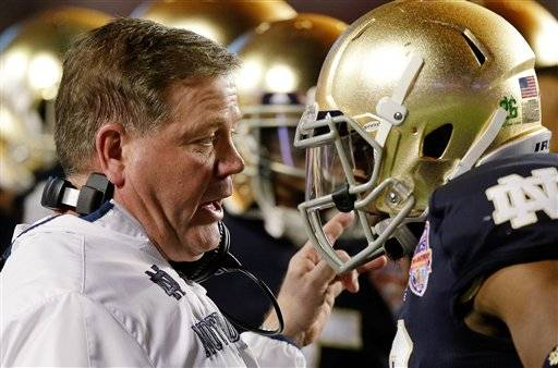 Notre Dame coach Brian Kelly will be back for a fourth season after leading the Fighting Irish to the national title game this past season.Kelly issued a statement Saturday that after interviewing with the Philadelphia Eagles, he will remain as coach of the Irish.