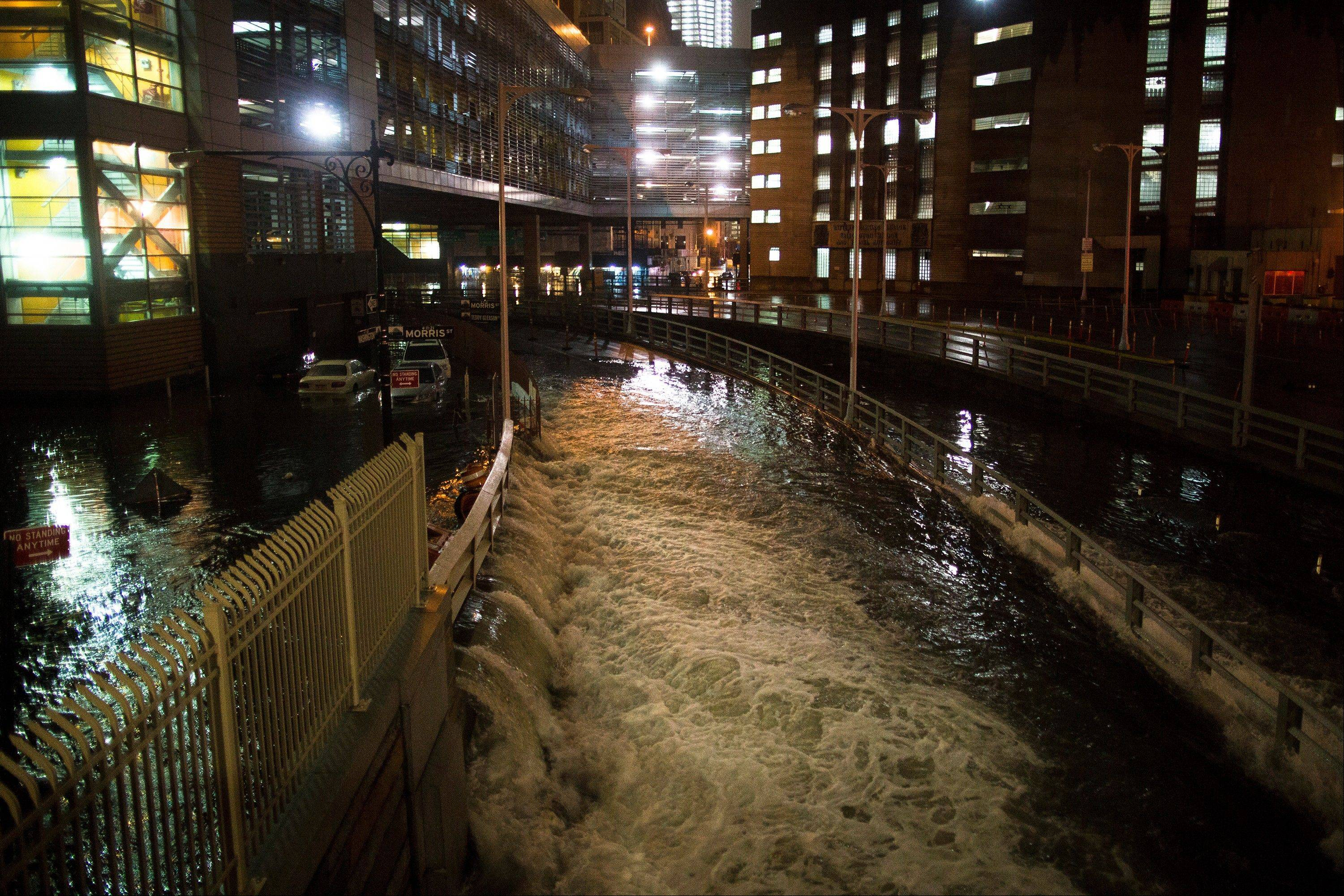 Sea water floods the entrance to the Brooklyn Battery Tunnel in New York during Superstorm Sandy.