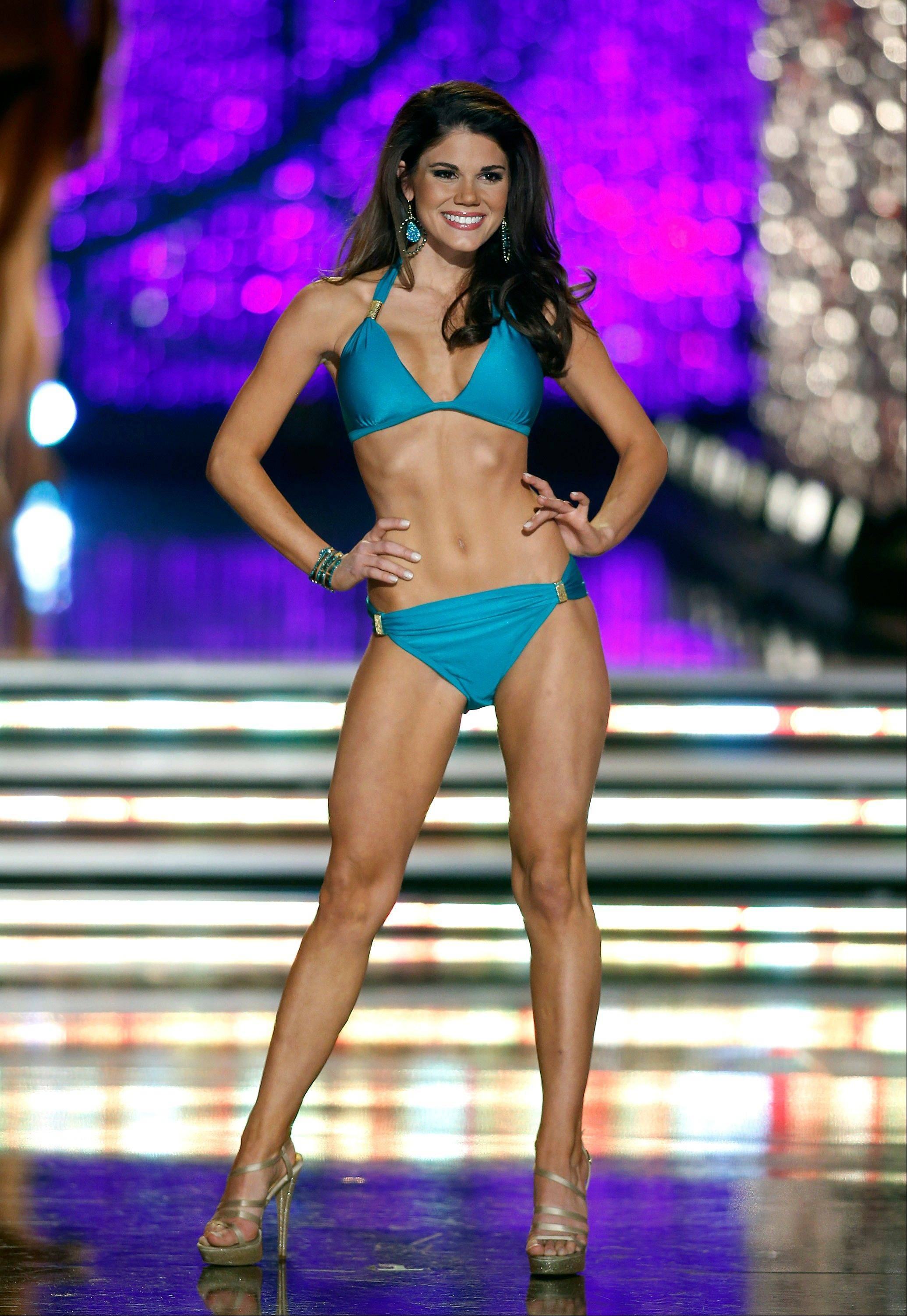 Miss Maryland Johanna Guy competes in the swimsuit portion Miss America pageant on Saturday, Jan. 12, 2013, in Las Vegas.