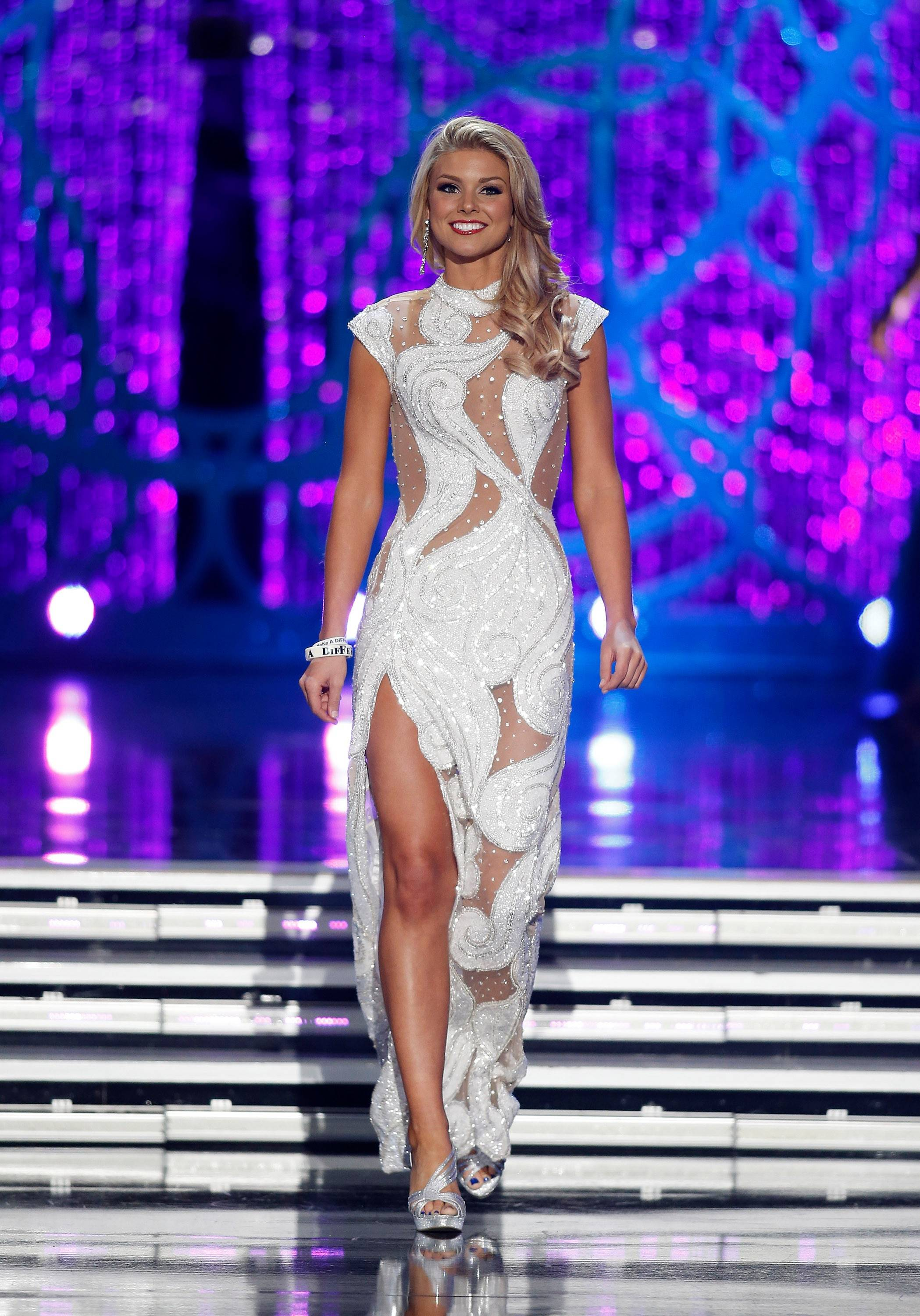 Miss South Carolina Ali Rogers competes in the evening gown portion of the Miss America 2013 pageant on Saturday, Jan. 12, 2013, in Las Vegas. Rogers was named first runner-up.