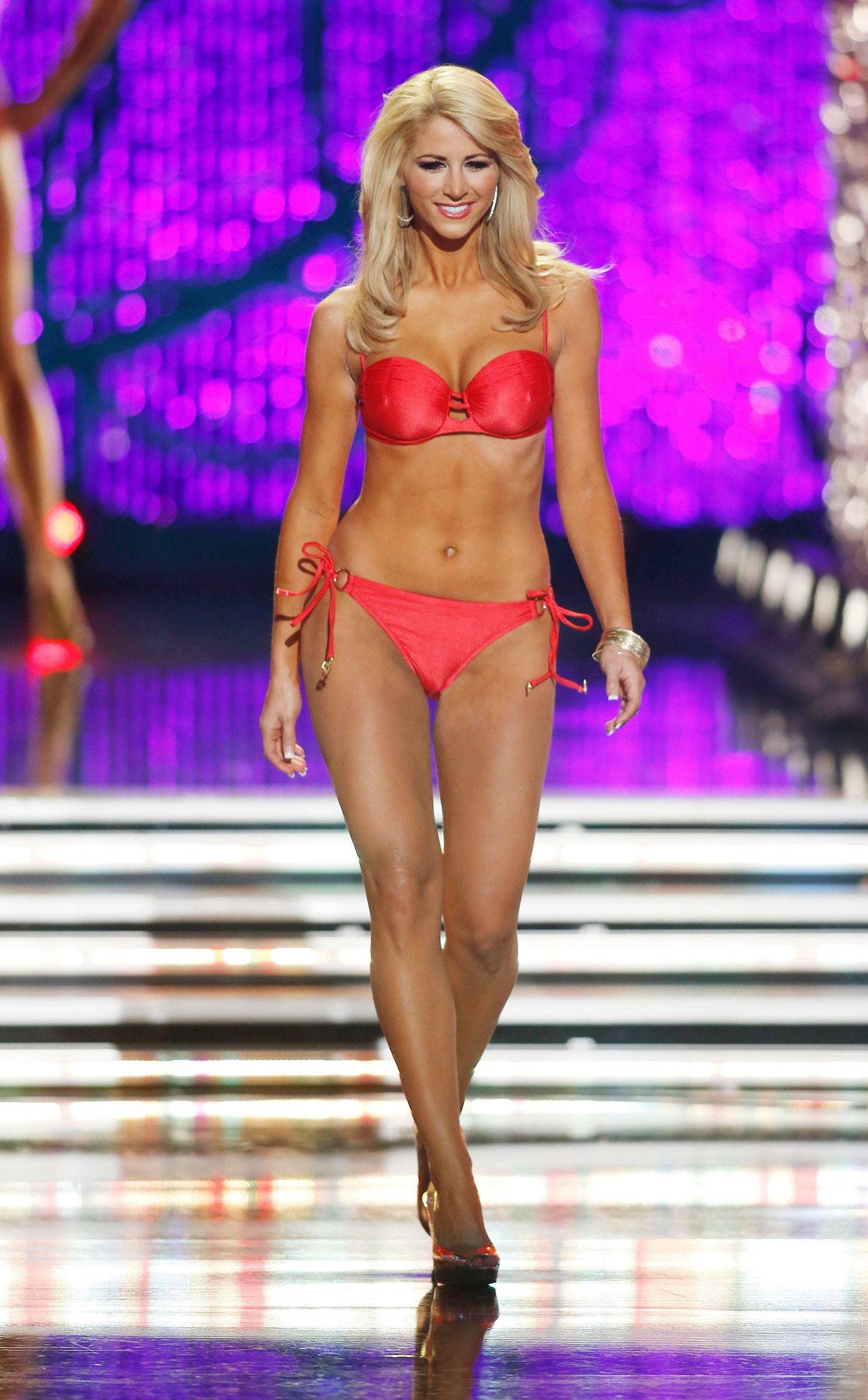 Miss Florida Laura McKeeman competes in the swimsuit portion of the Miss America 2013 pageant on Saturday, Jan. 12, 2013, in Las Vegas.