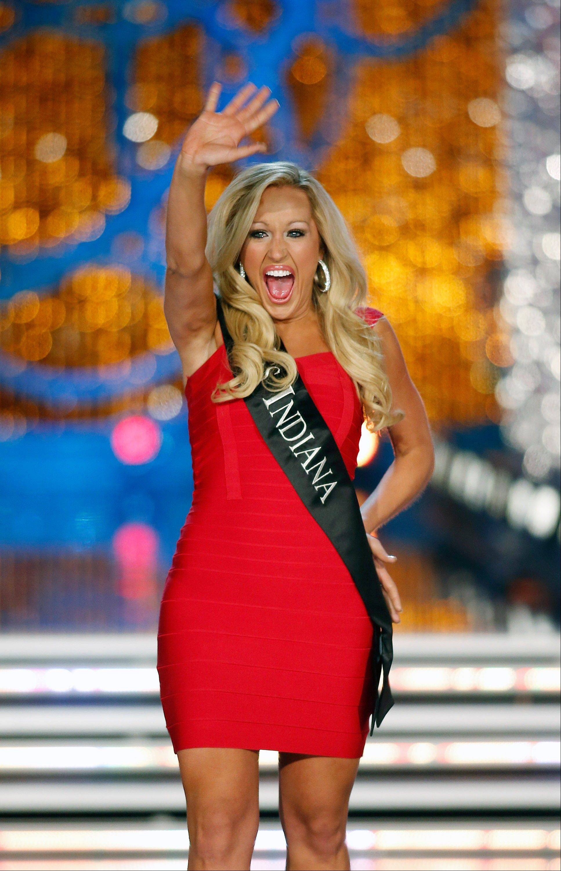 Miss Indiana MerrieBeth Cox competes in the Miss America pageant on Saturday, Jan. 12, 2013, in Las Vegas.