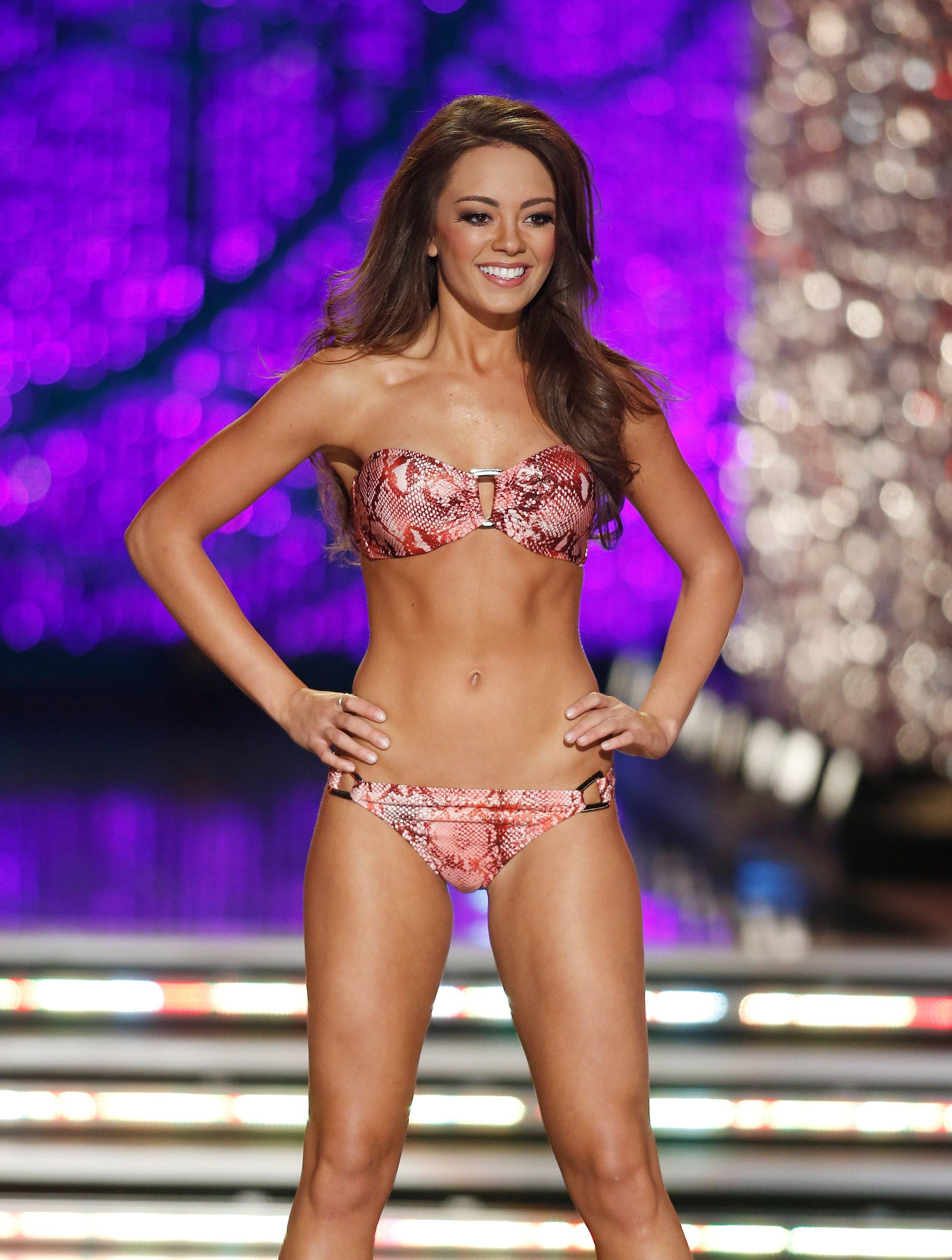 Miss Kentucky Jessica Casebolt competes in the swimsuit portion of the Miss America 2013 pageant on Saturday, Jan. 12, 2013, in Las Vegas.