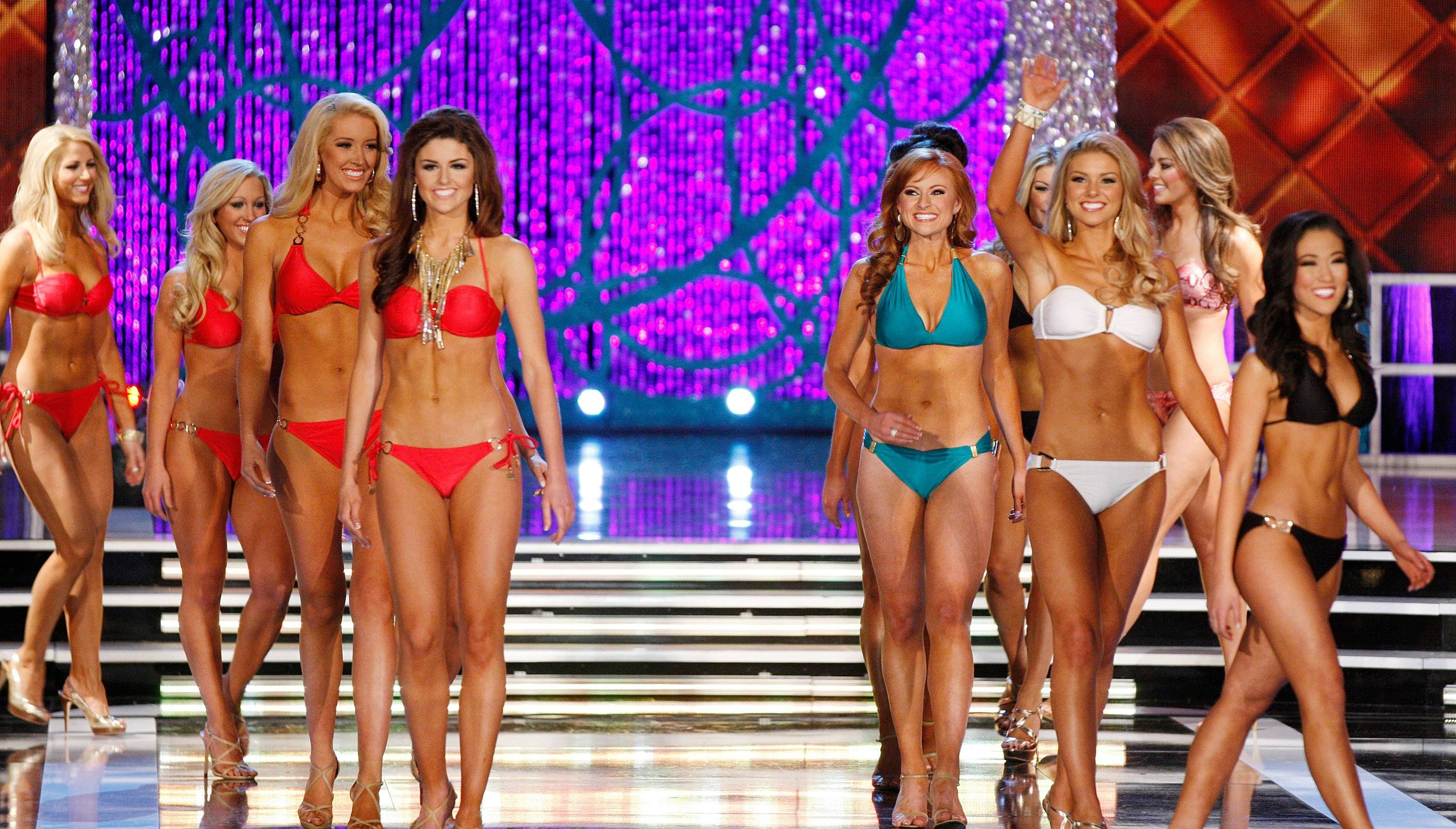 Contestants compete in the swimsuit portion of the Miss America 2013 pageant on Saturday, Jan. 12, 2013, in Las Vegas.