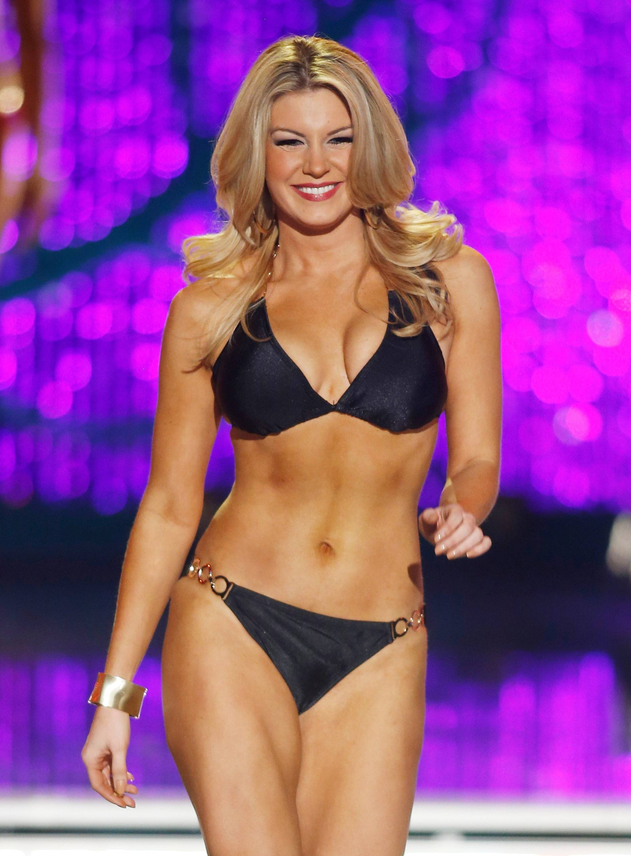 Miss New York Mallory Hytes Hagan competes in the swimsuit portion of the Miss America 2013 pageant on Saturday, Jan. 12, 2013, in Las Vegas