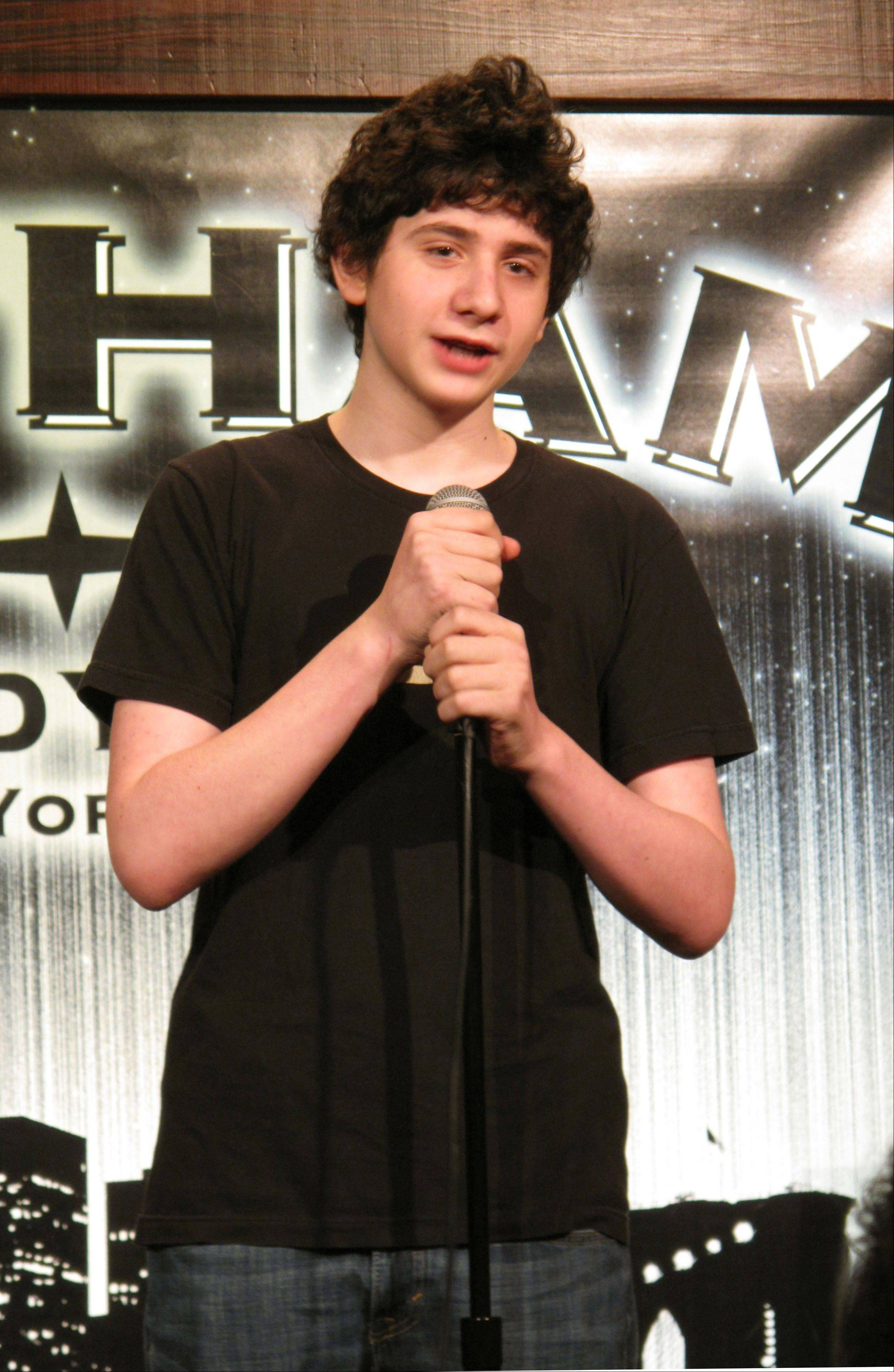 "Fourteen-year-old comedian Zach Rosenfeld performs his stand-up routine during the ""Kids 'N Comedy"" show at Gotham Comedy Club."
