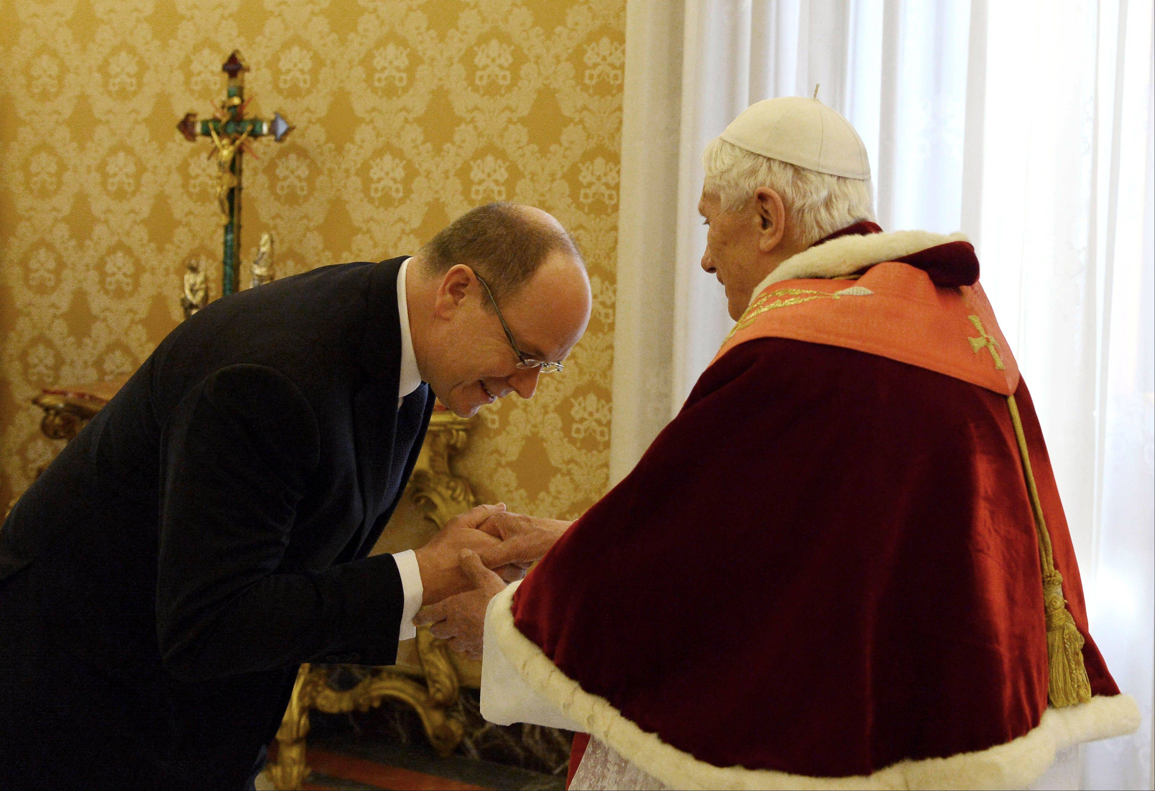Pope Benedict XVI welcomes Prince Albert II of Monaco Saturday upon his arrival for a private audience at the Vatican.