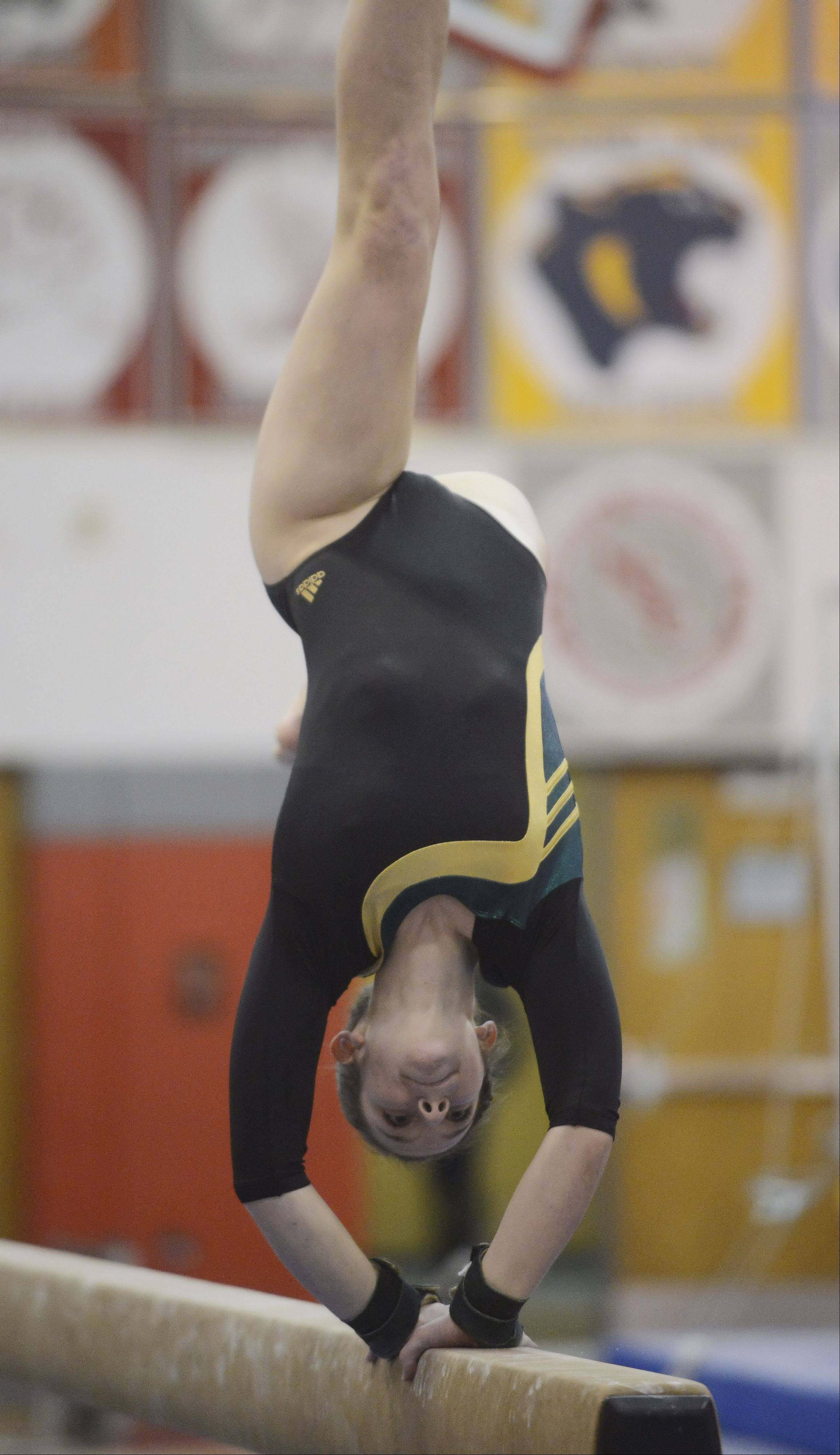 Stevenson's Riley Trebilco competes on the balance beam during the Lake County girls gymnastics meet at Mundelein on Saturday.