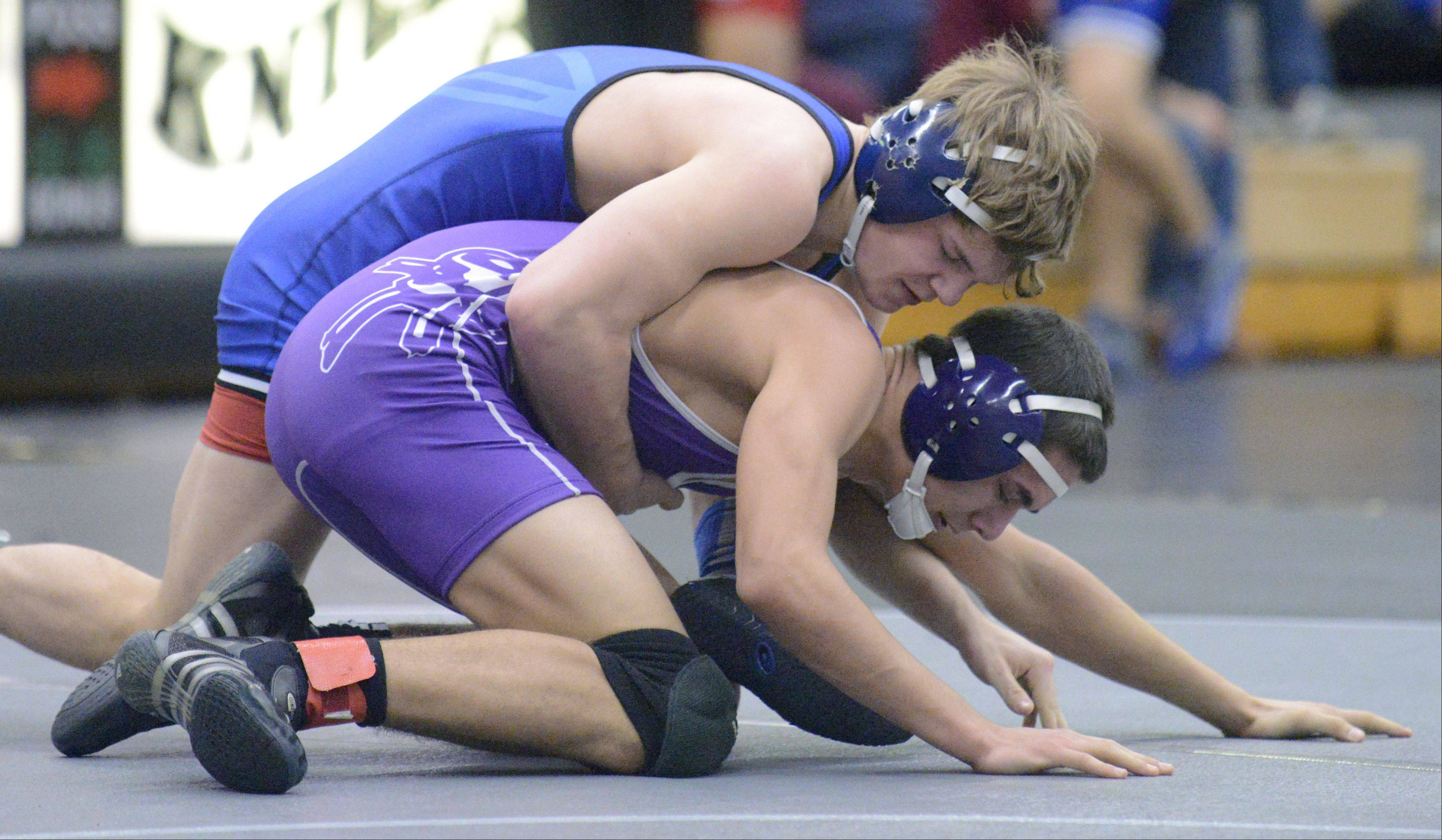 Burlington-Central's Bradley Weinrich and Rochelle Joe Goshko in the 132 pound match on Saturday, January 12.