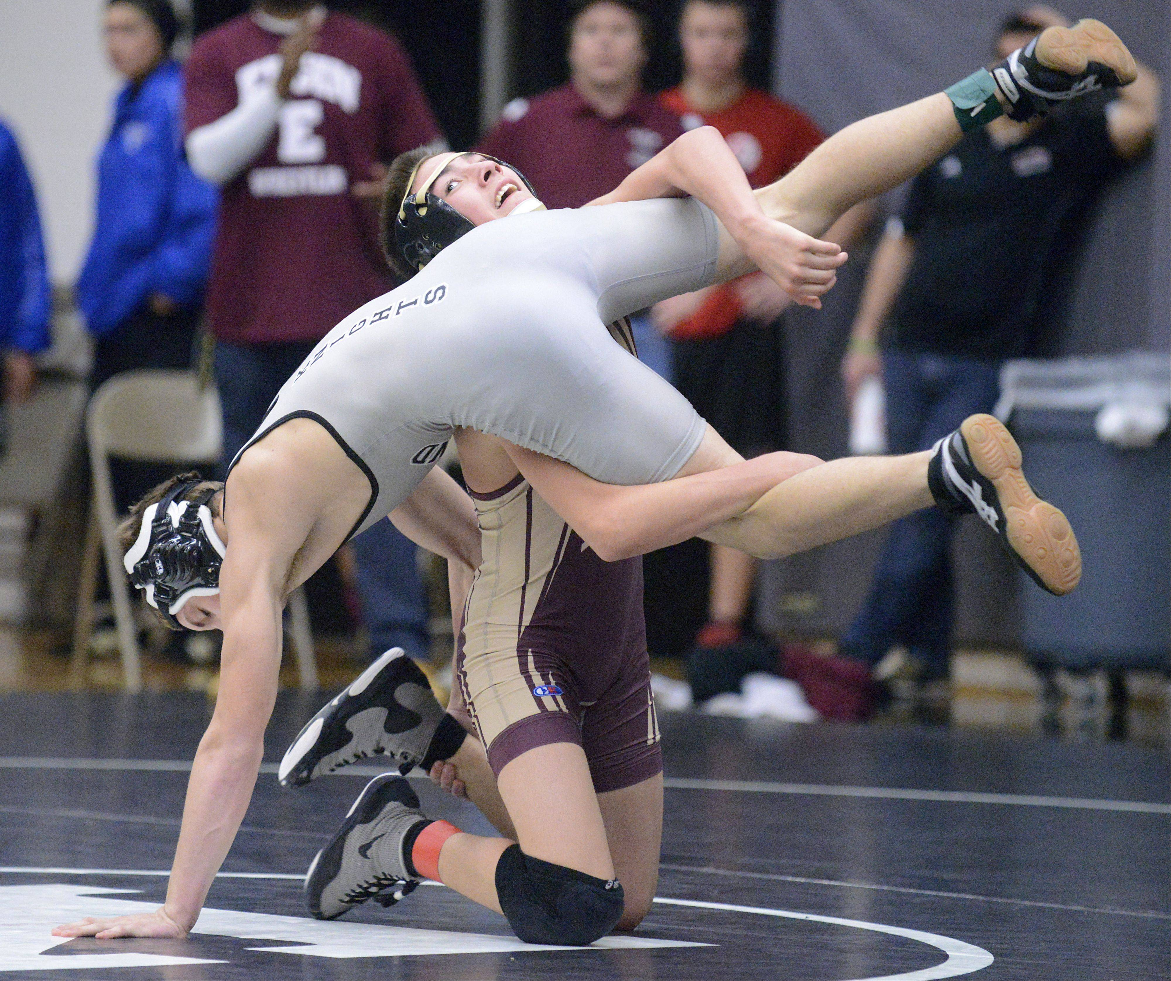 Kaneland's Dane Goodenough and Elgin's Tyler VonEssen in the 126 pound match on Saturday, January 12.