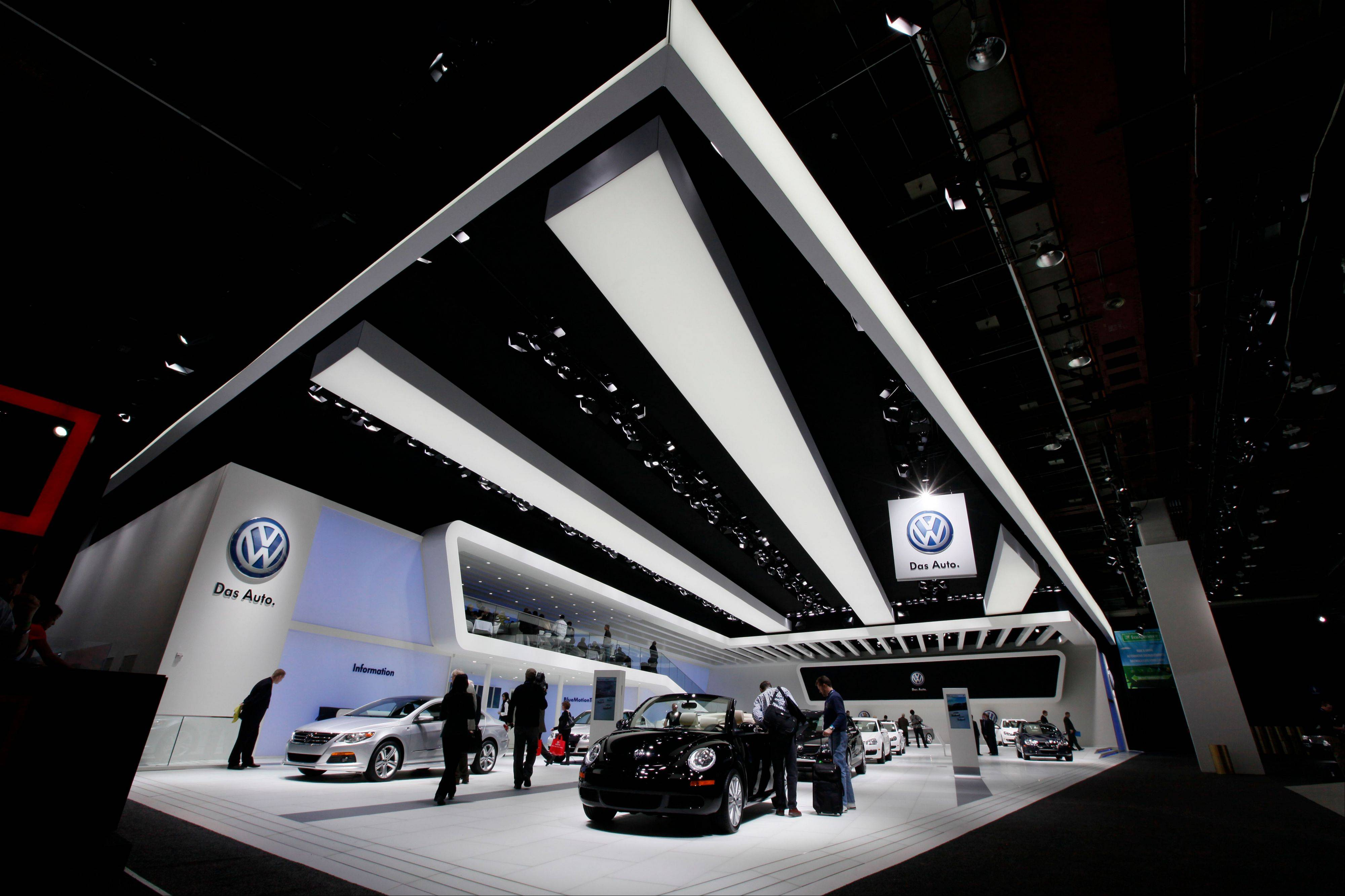 Volkswagens are displayed at the North American International Auto Show in Detroit.