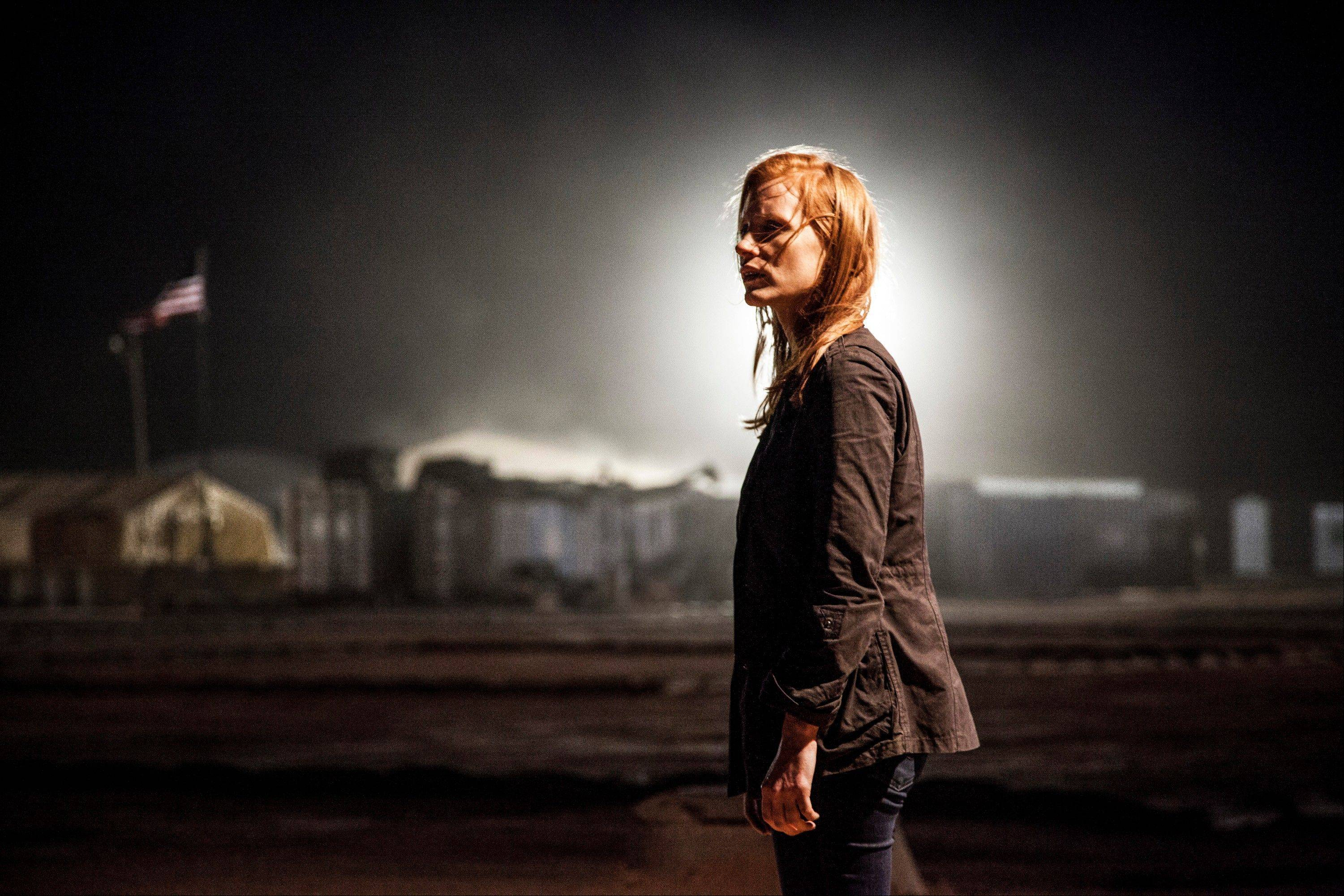 This undated publicity photo released by Columbia Pictures Industries, Inc. shows Jessica Chastain, as Maya, a member of the elite team of spies and military operatives stationed in a covert base overseas, who secretly devoted themselves to finding Osama Bin Laden in Columbia Pictures� new thriller, �Zero Dark Thirty,� directed by Kathryn Bigelow. The film made $24 million in its first week of release and captured the No. 1 spot at the box office.