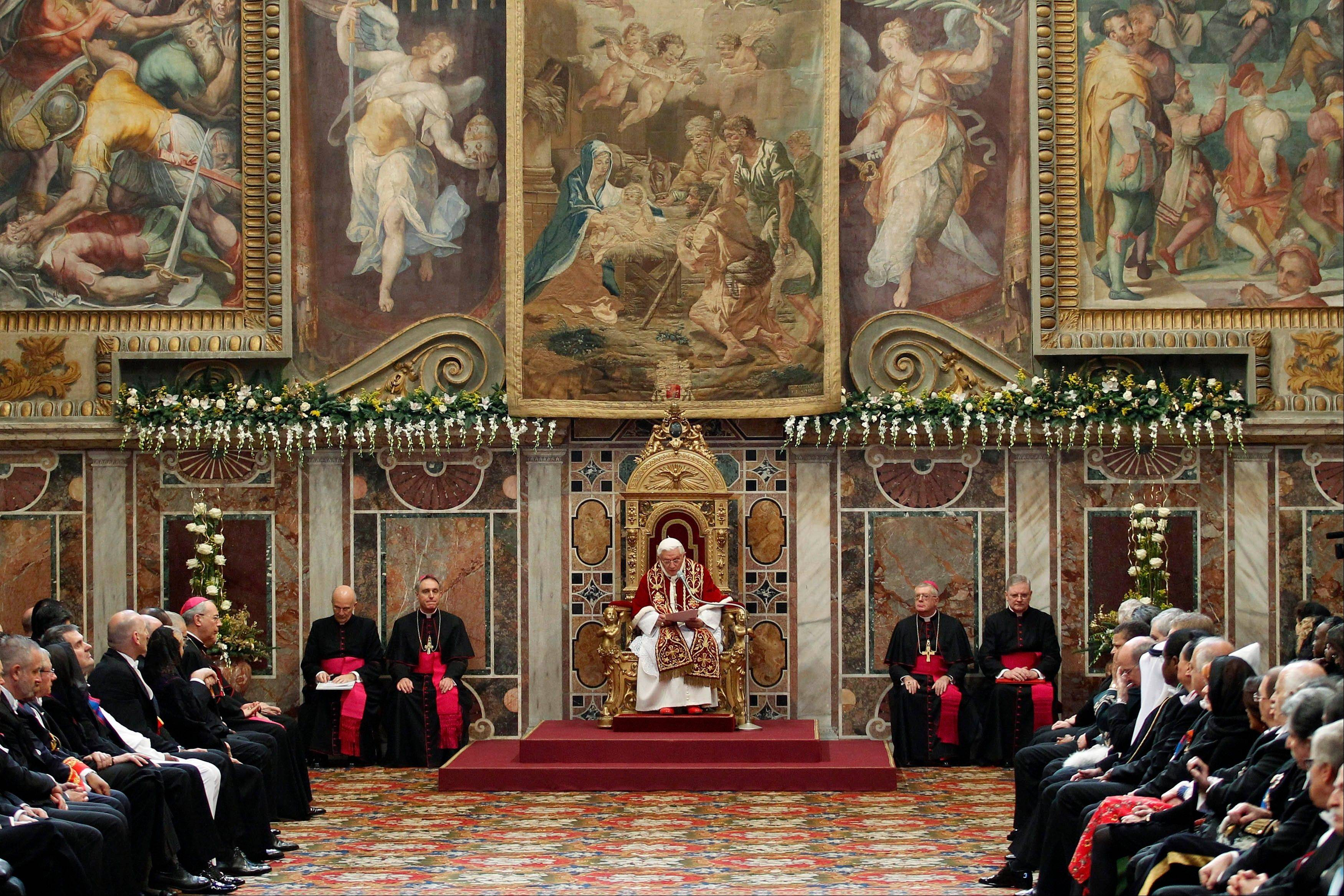Pope Benedict XVI delivers his speech during an audience with foreign ambassadors to the Holy See, at the Vatican, Monday, Jan. 7, 2013.