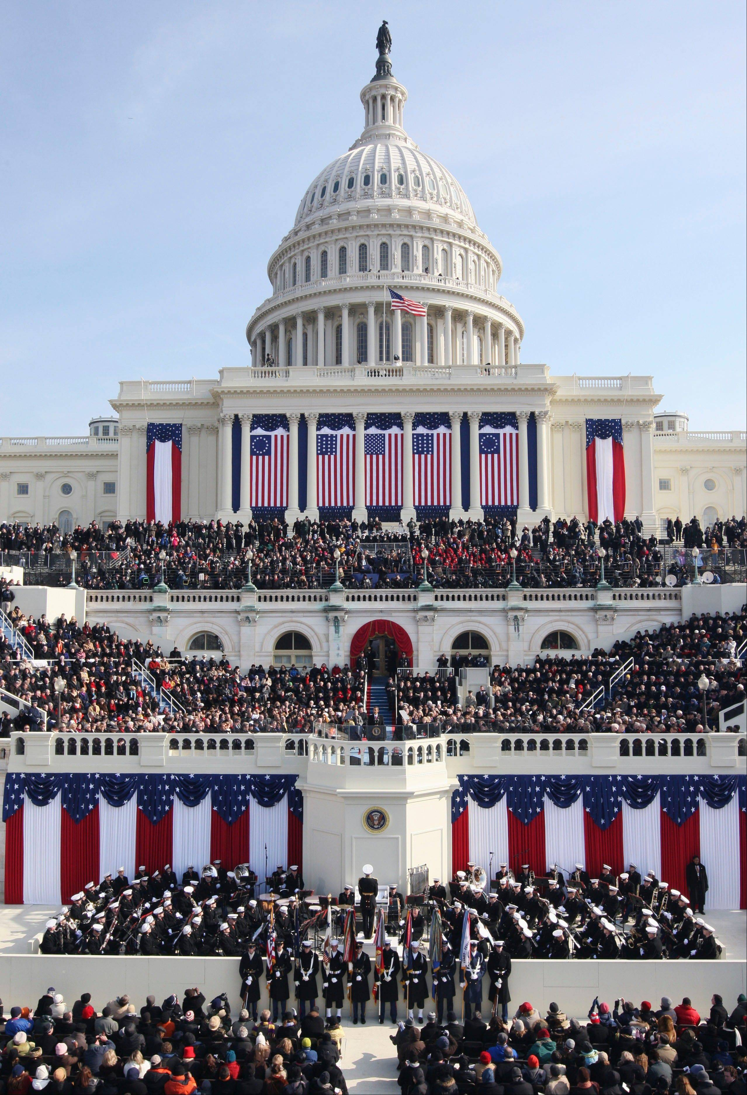 President Barack Obama gives his inaugural address at the U.S. Capitol in Washington Jan. 20, 2009. His second inauguration promises the pageantry of the first, but on a smaller scale.