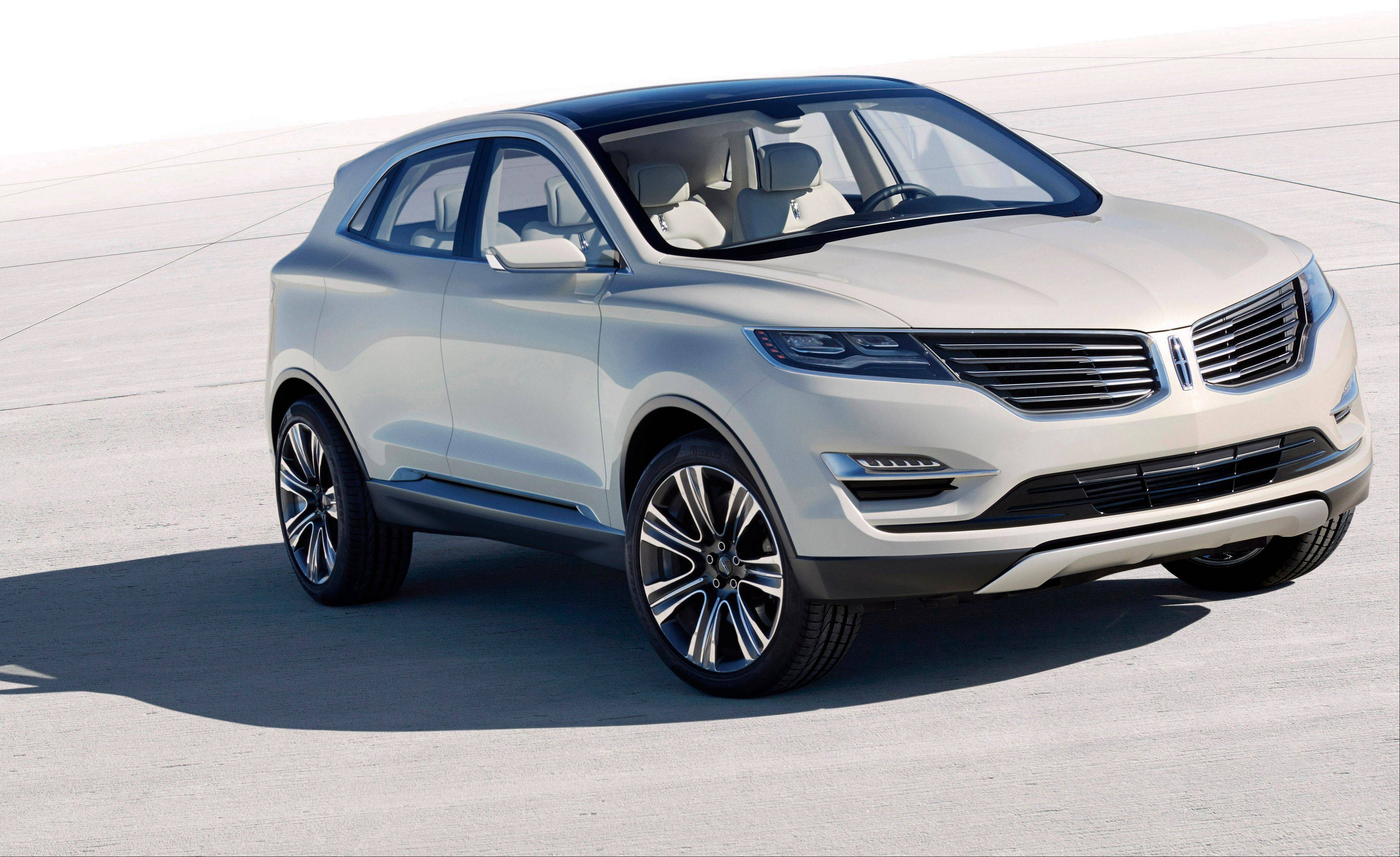 In a photo provided by the Ford Motor Co., the Lincoln MKC Concept, a small luxury utility is shown.