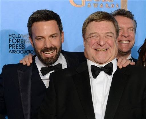 "Ben Affleck, John Goodman and Tate Donovan have a little fun after the ""Argo"" win for best drama."