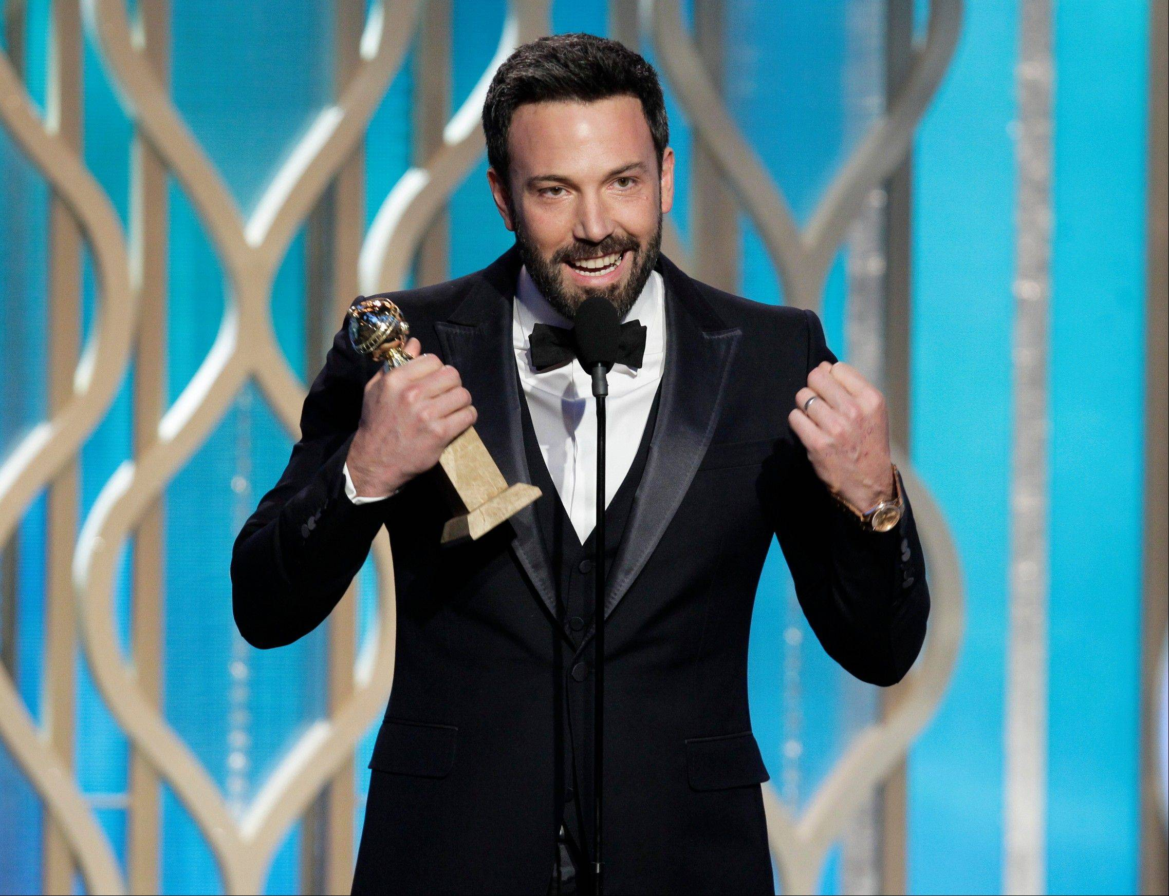 "Ben Affleck won the Golden Globe for best director and his film, ""Argo,"" was named the year's best dramatic film Sunday at the Golden Globe Awards in Beverly Hills. Affleck will not be in contention for the directing Oscar next month."
