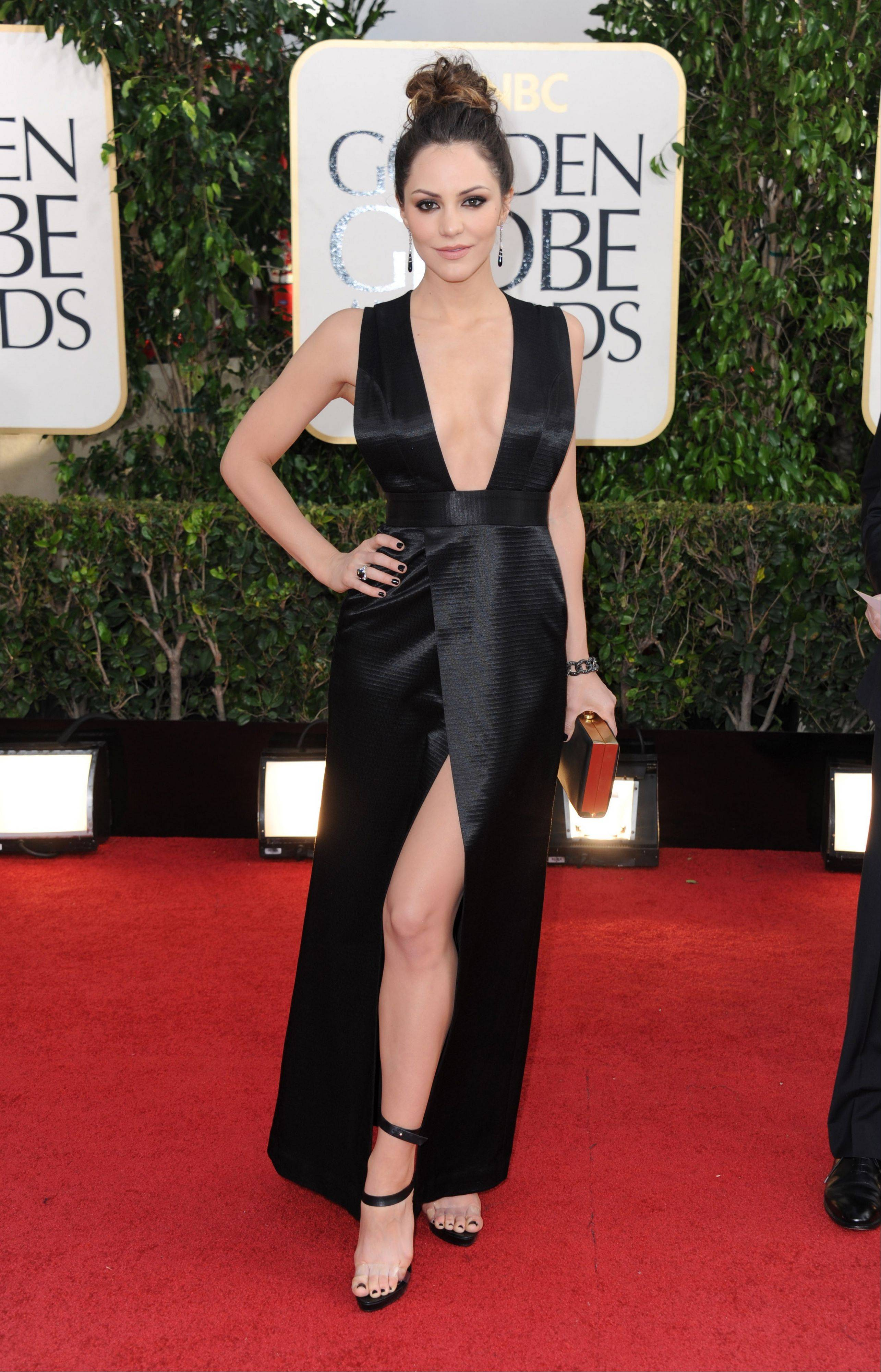Actress Katharine McPhee arrives at the 70th Annual Golden Globe Awards at the Beverly Hilton Hotel on Sunday Jan. 13, 2013, in Beverly Hills, Calif.