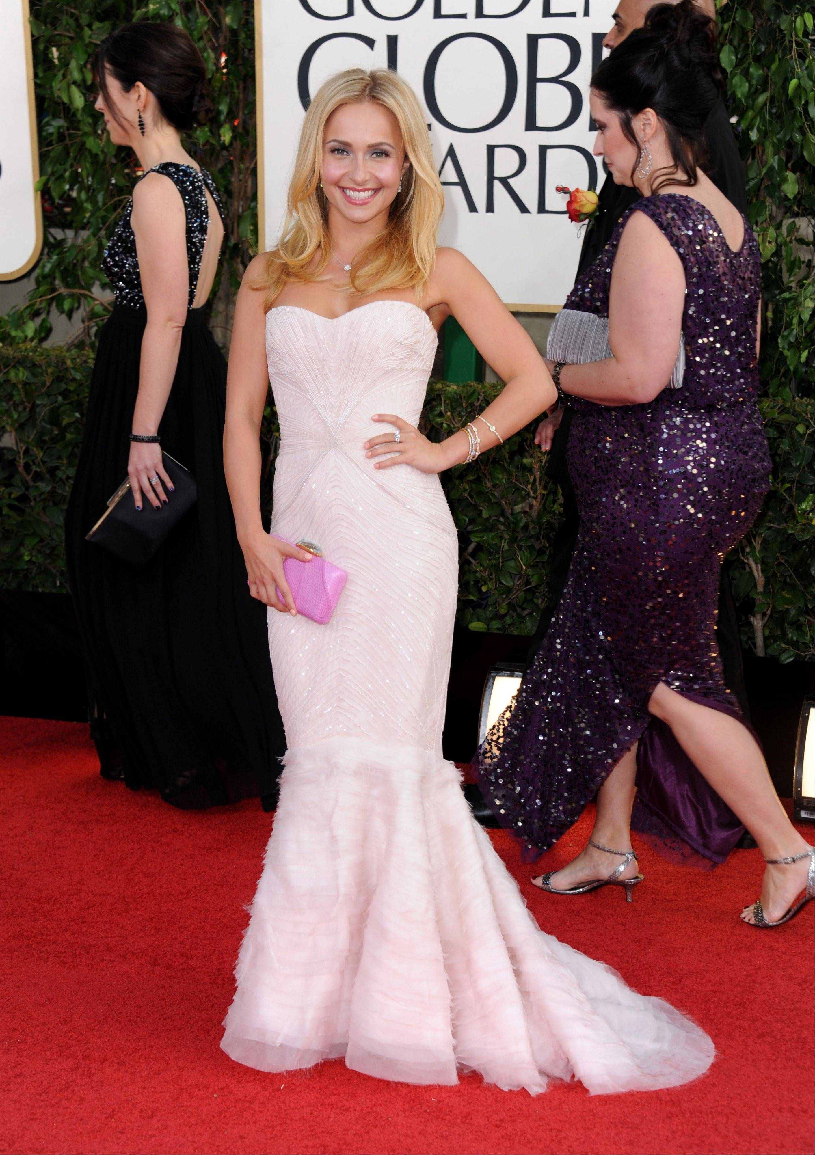 Actress Hayden Panettiere arrives at the 70th Annual Golden Globe Awards at the Beverly Hilton Hotel on Sunday Jan. 13, 2013, in Beverly Hills, Calif.